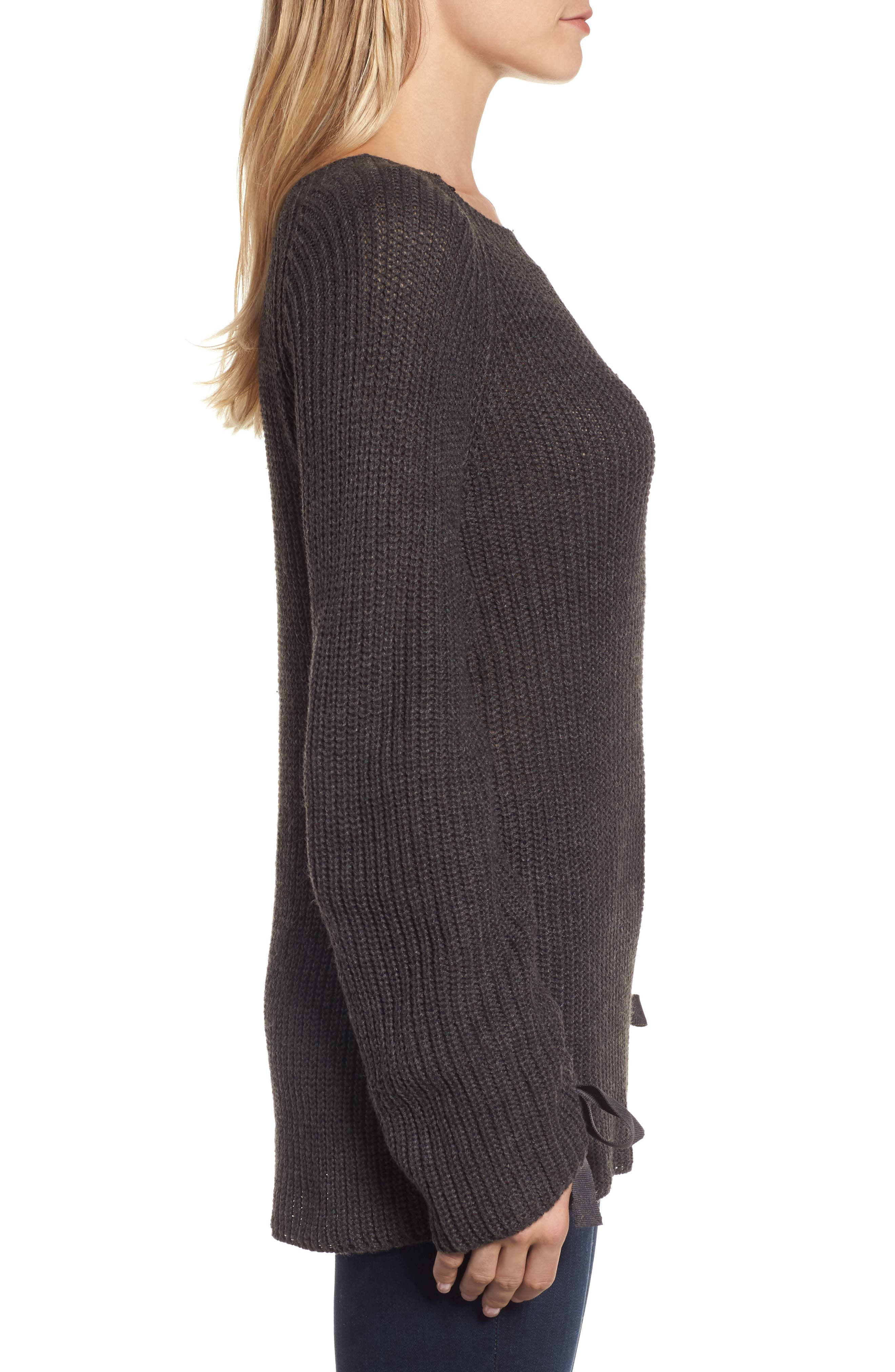 RD Style Tie Sleeve Sweater,                             Alternate thumbnail 3, color,                             Ash Grey