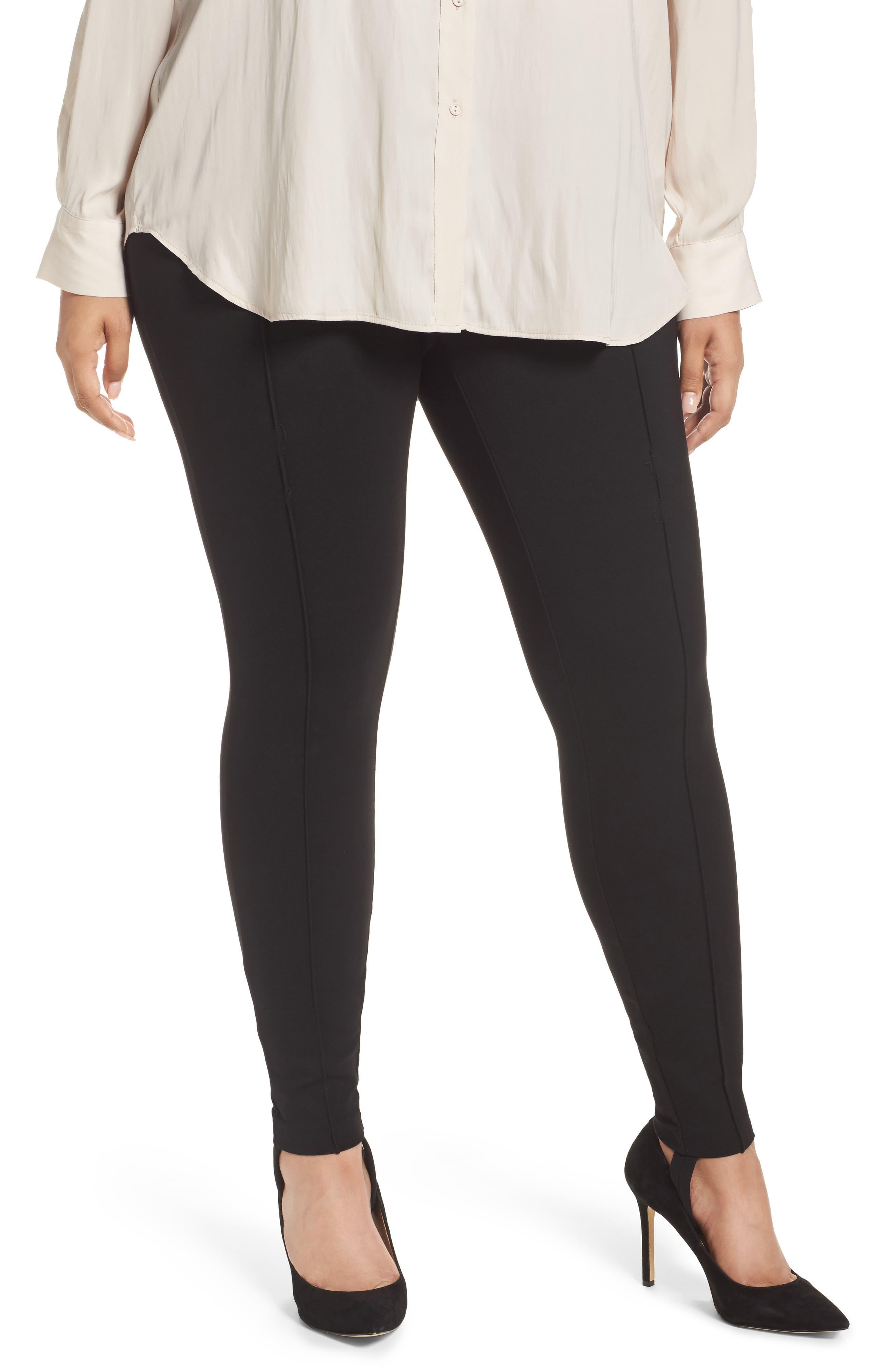 Ponte Knit Stirrup Pants,                             Main thumbnail 1, color,                             Black