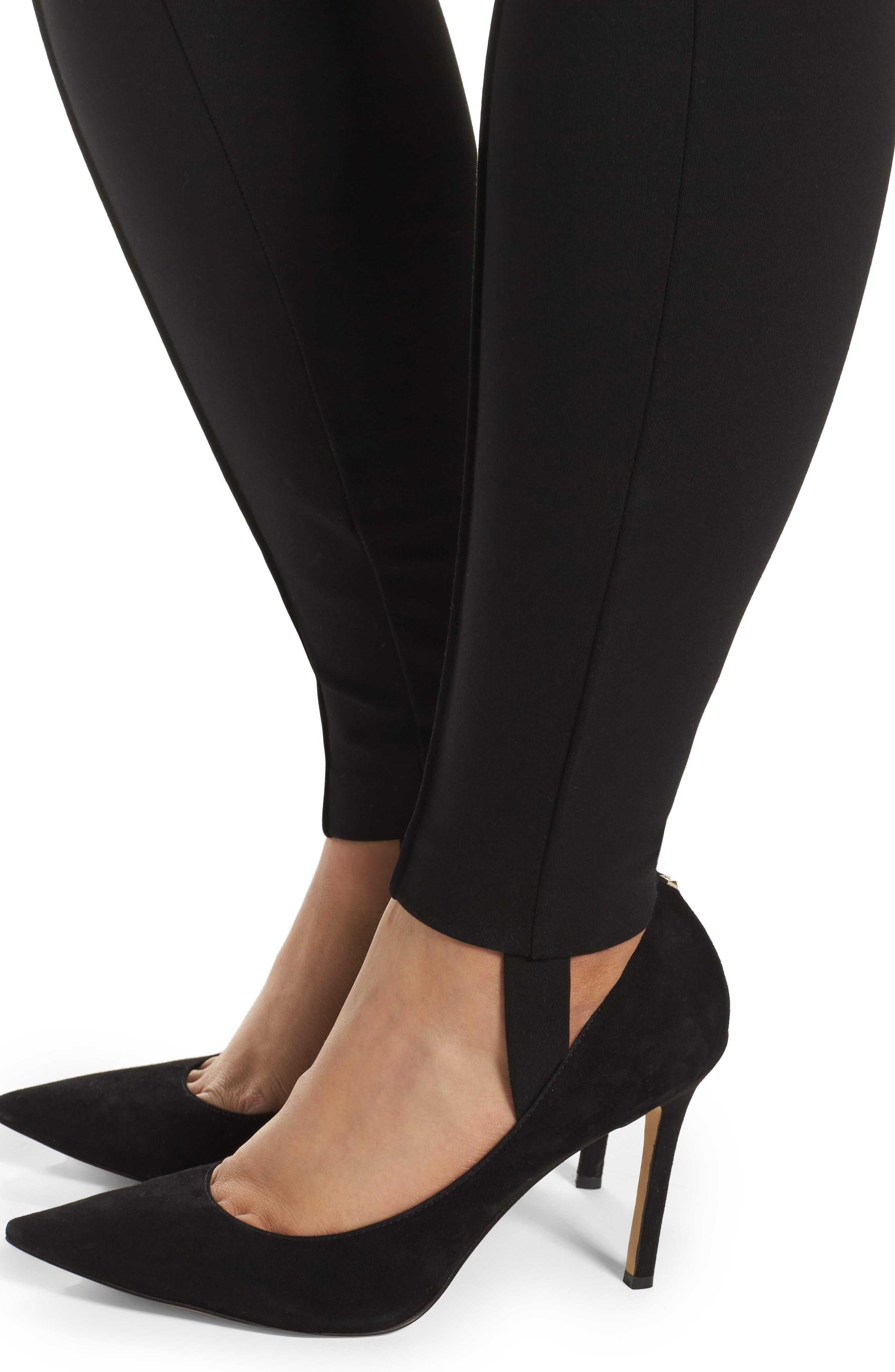Ponte Knit Stirrup Pants,                             Alternate thumbnail 4, color,                             Black