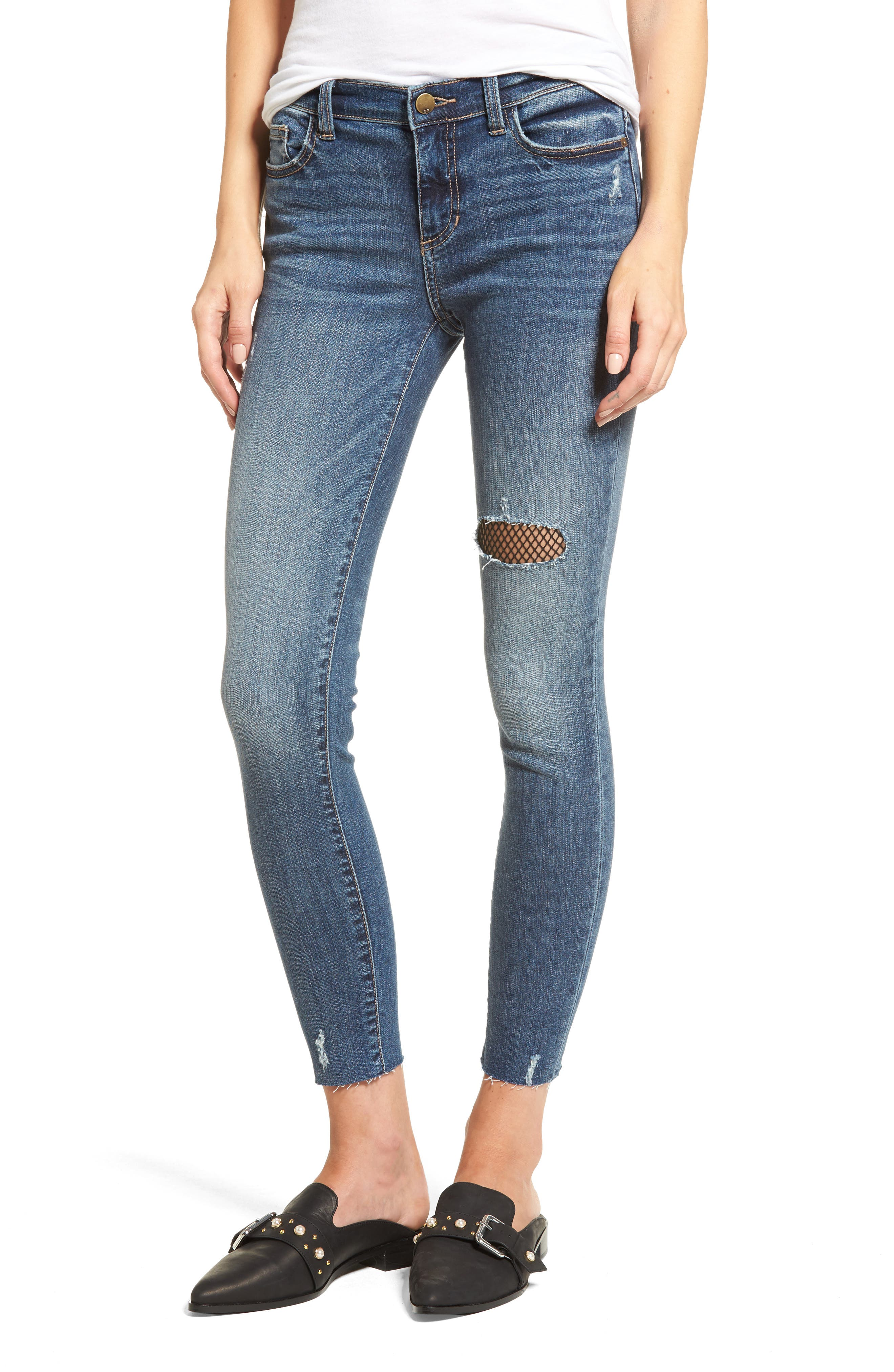 SP Black Fishnet Patch Skinny Jeans