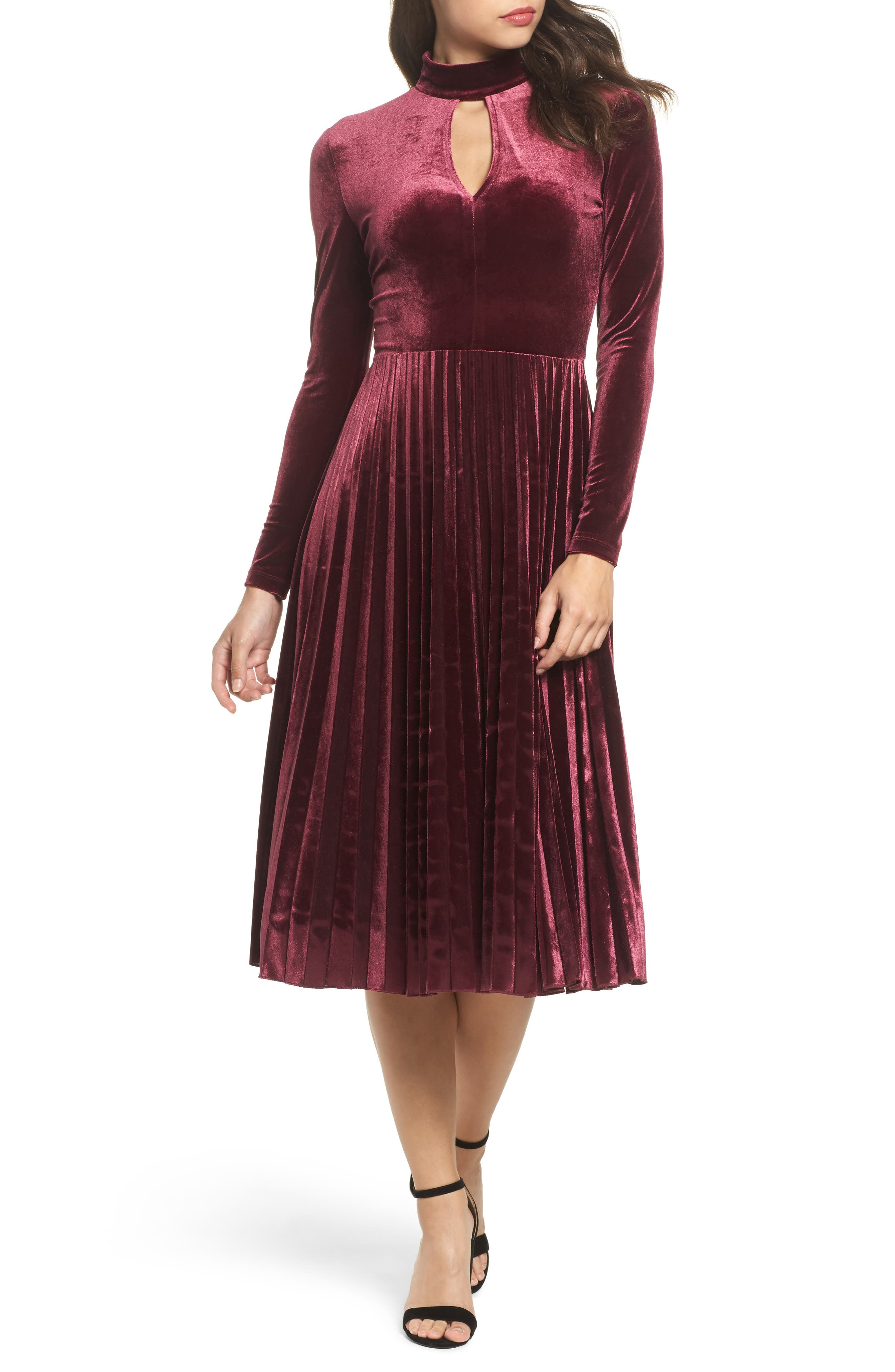 Velvet Midi Dress,                             Main thumbnail 1, color,                             Wine