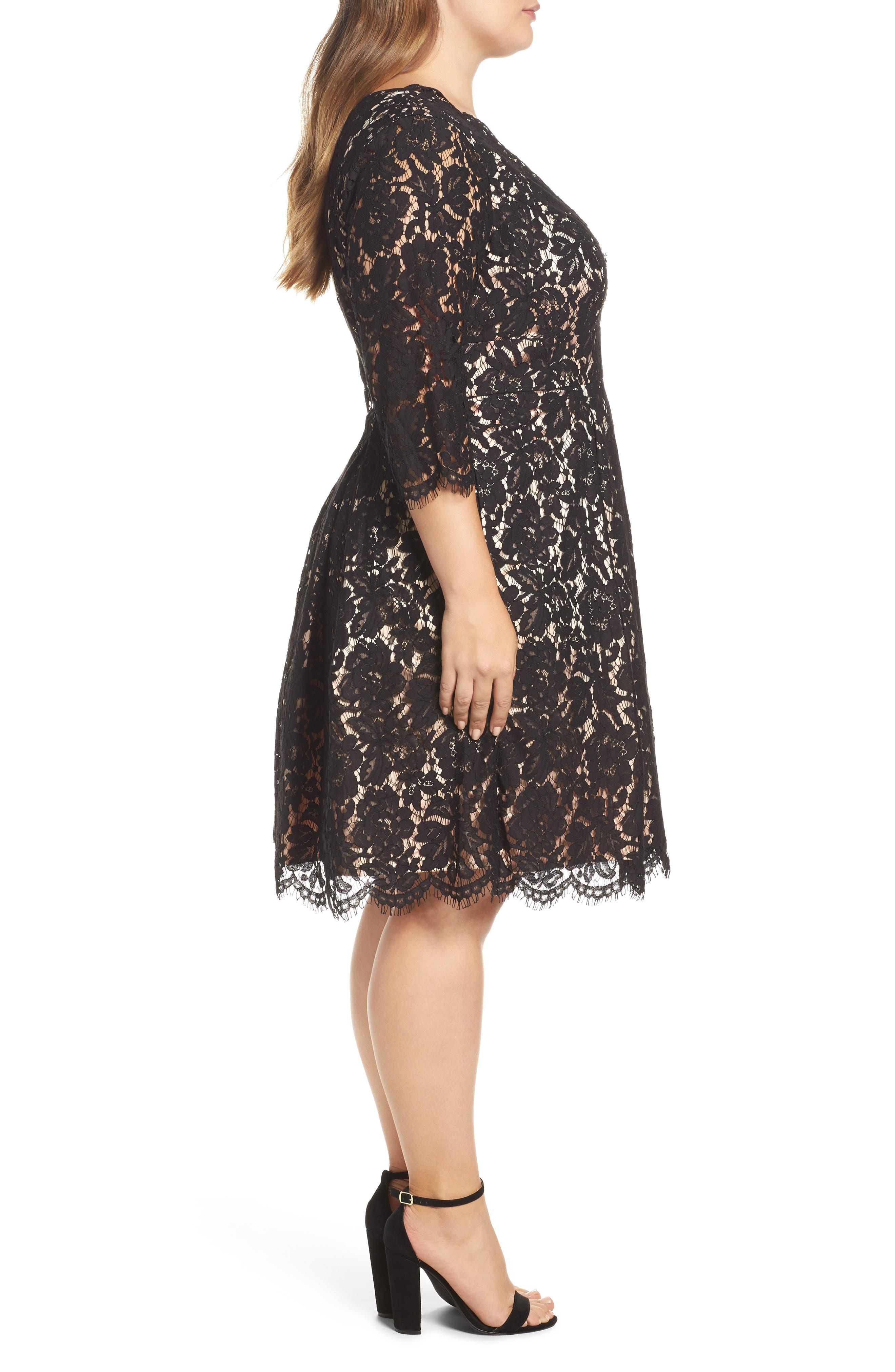 Lace Fit & Flare Dress,                             Alternate thumbnail 3, color,                             Black