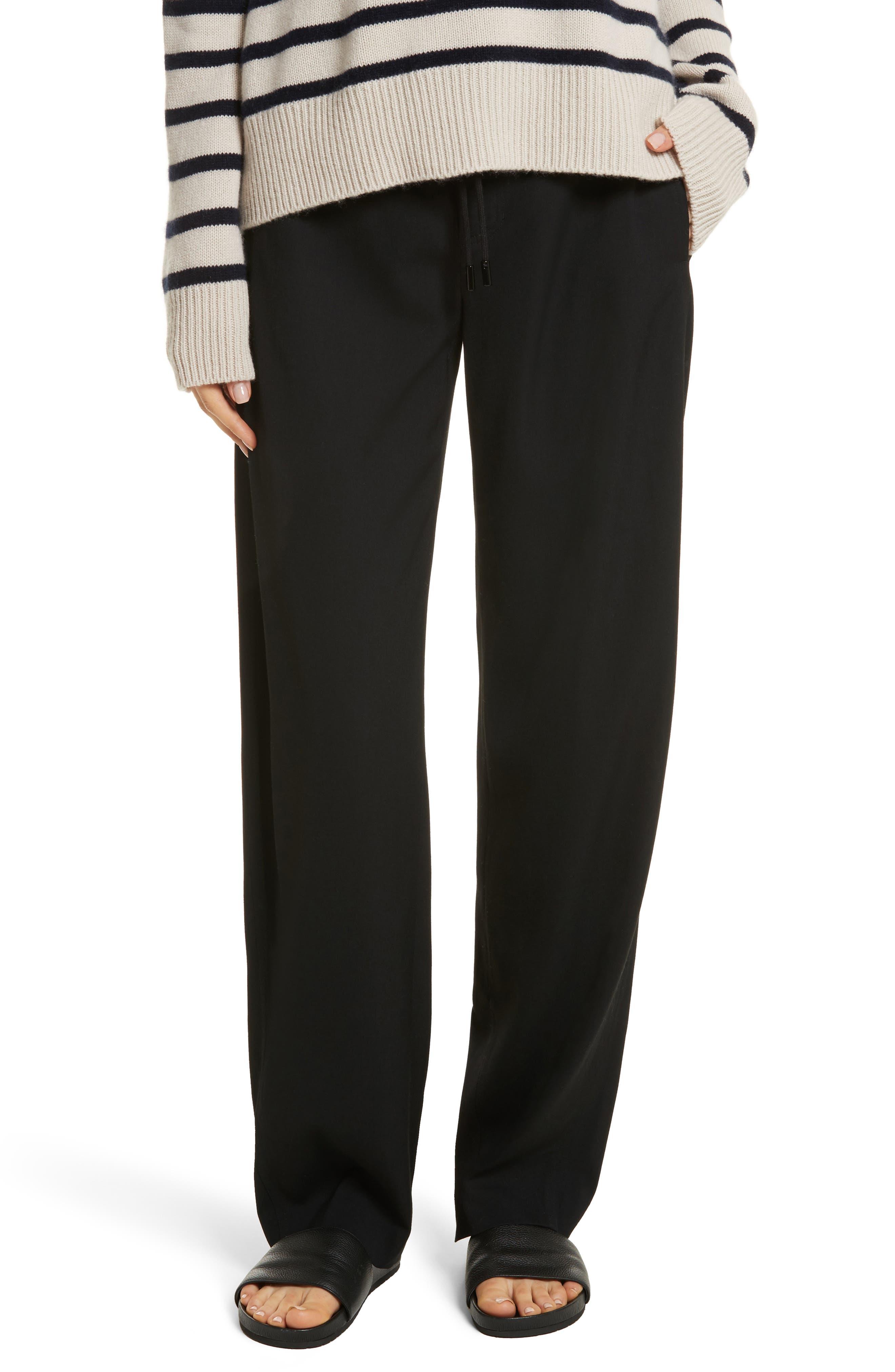Drawstring Wide Leg Pants,                         Main,                         color, Black