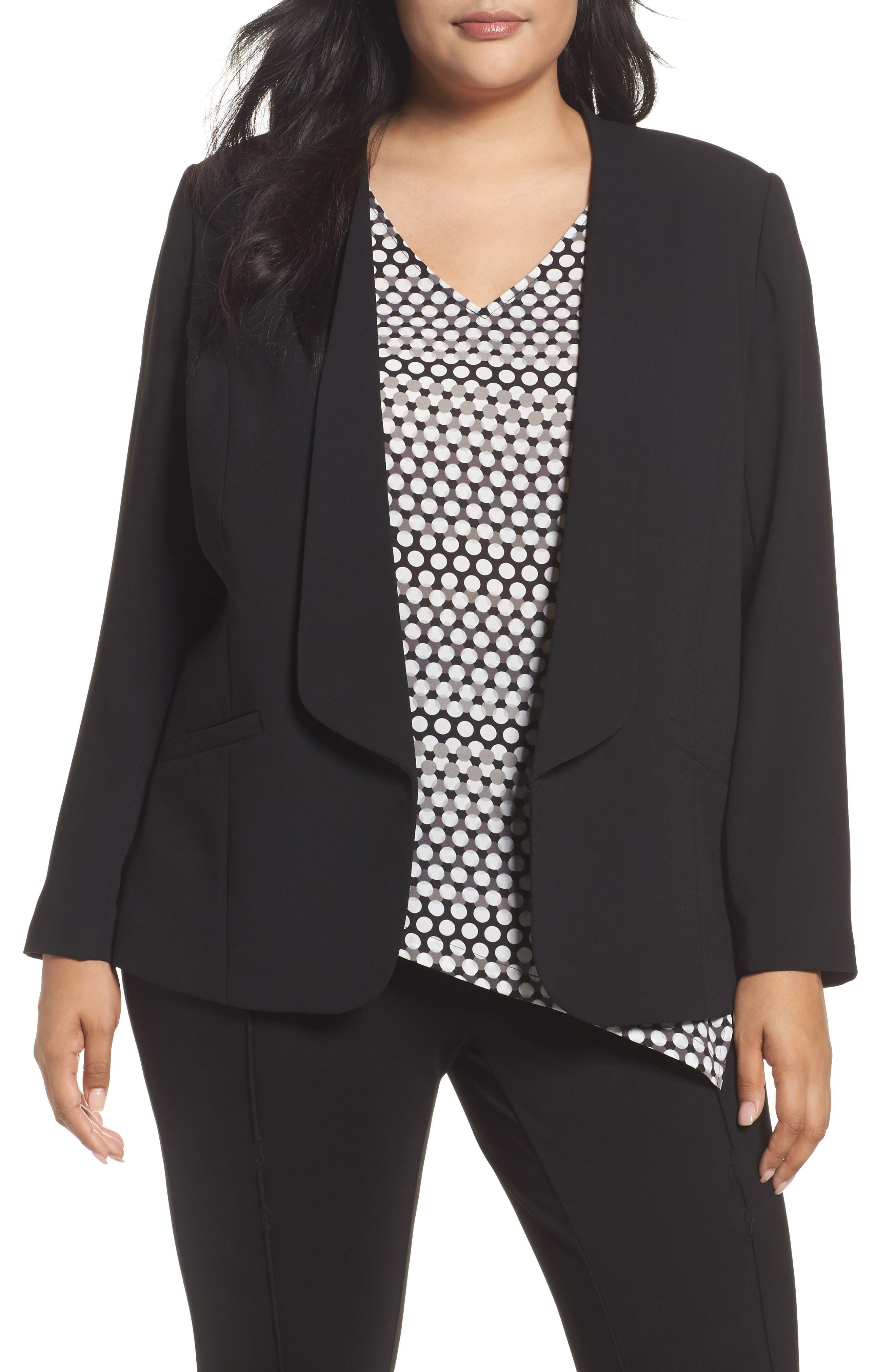 Drape Front Crepe Jacket,                         Main,                         color, Black