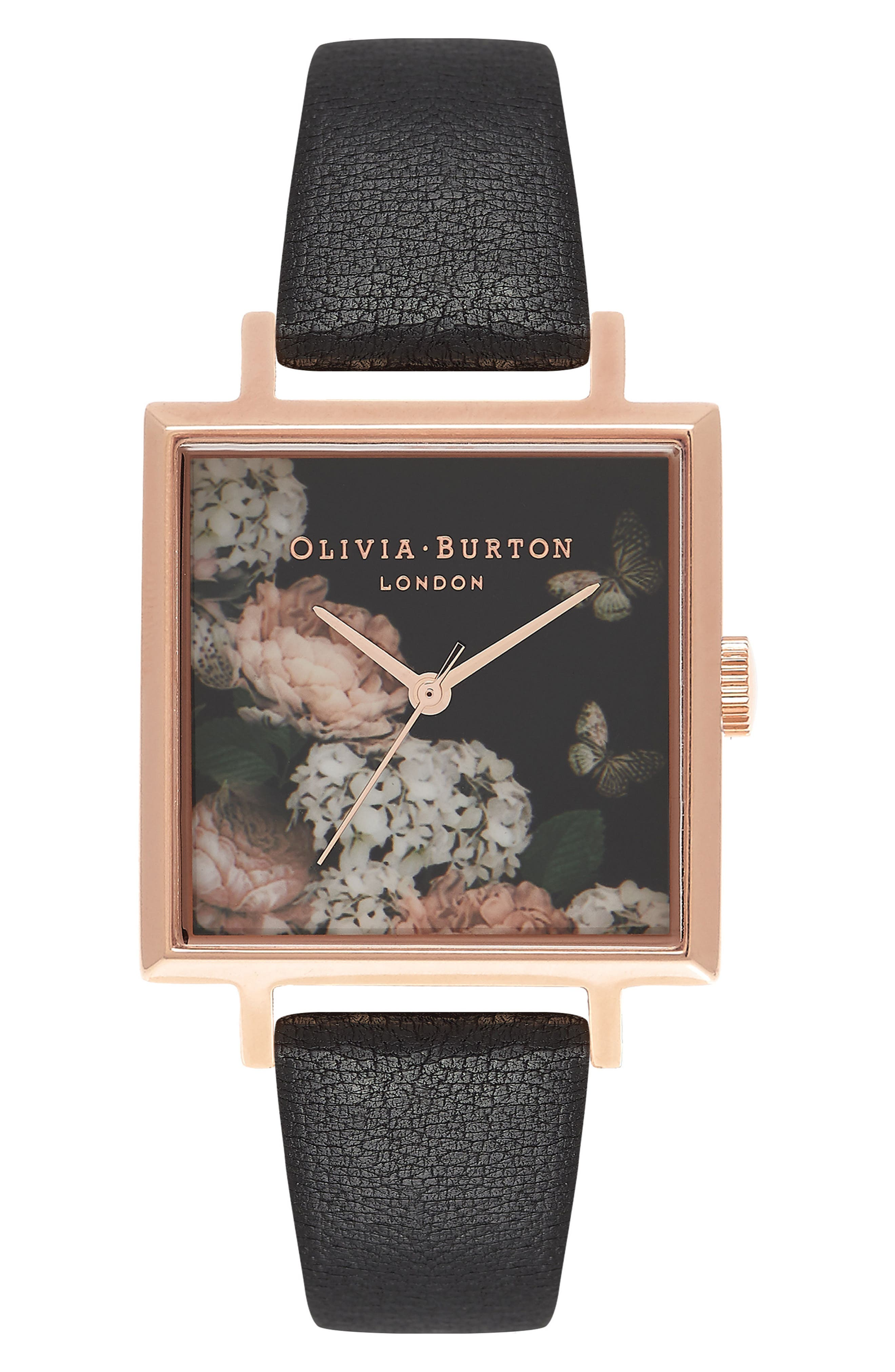 Signature Floral Big Square Leather Strap Watch, 38mm,                         Main,                         color, Black/ Floral/ Rose Gold