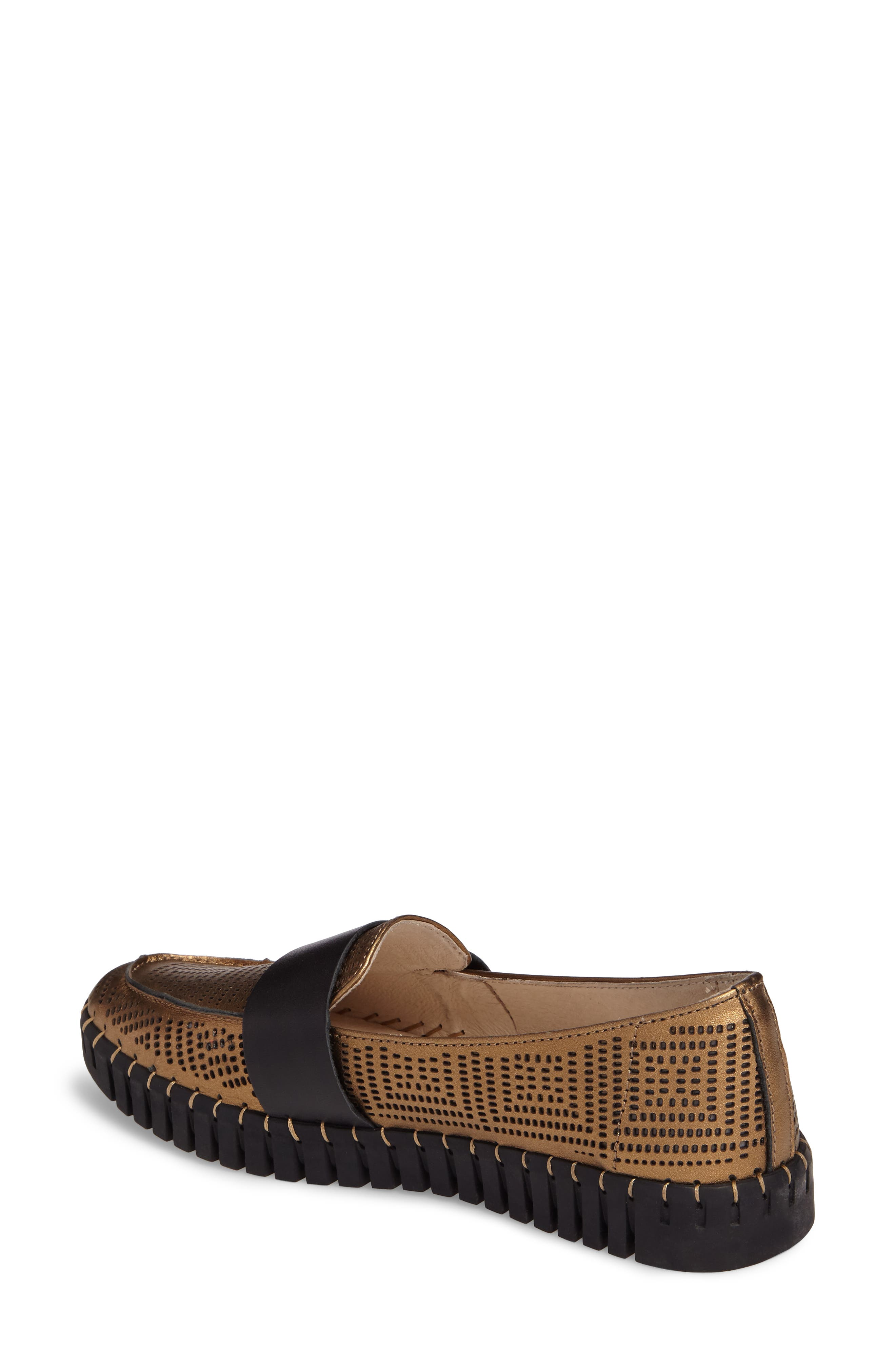 TW74 Perforated Flat,                             Alternate thumbnail 2, color,                             Bronze Leather
