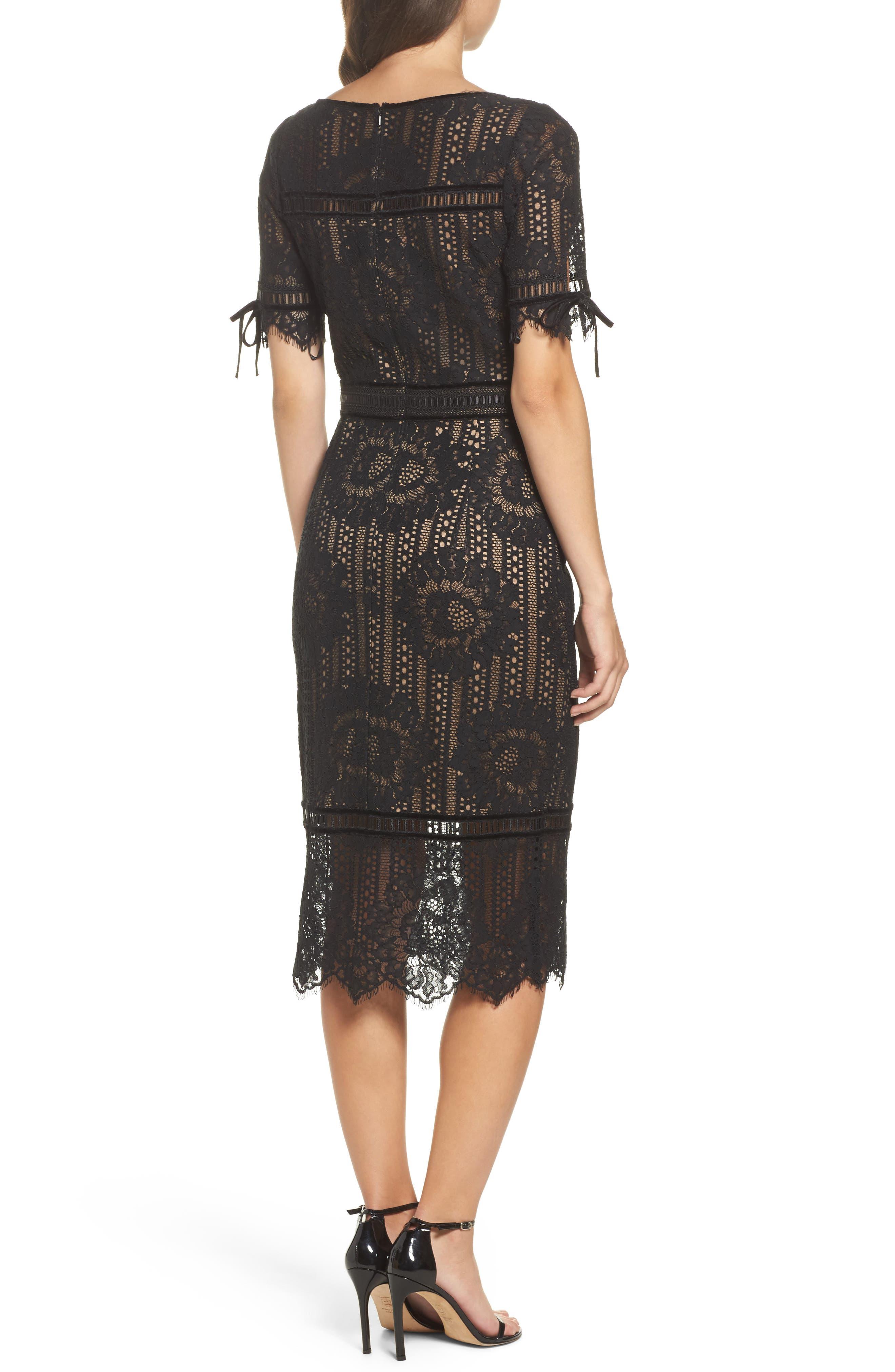 Velvet Trim Lace Sheath Dress,                             Alternate thumbnail 2, color,                             Black/ Nude