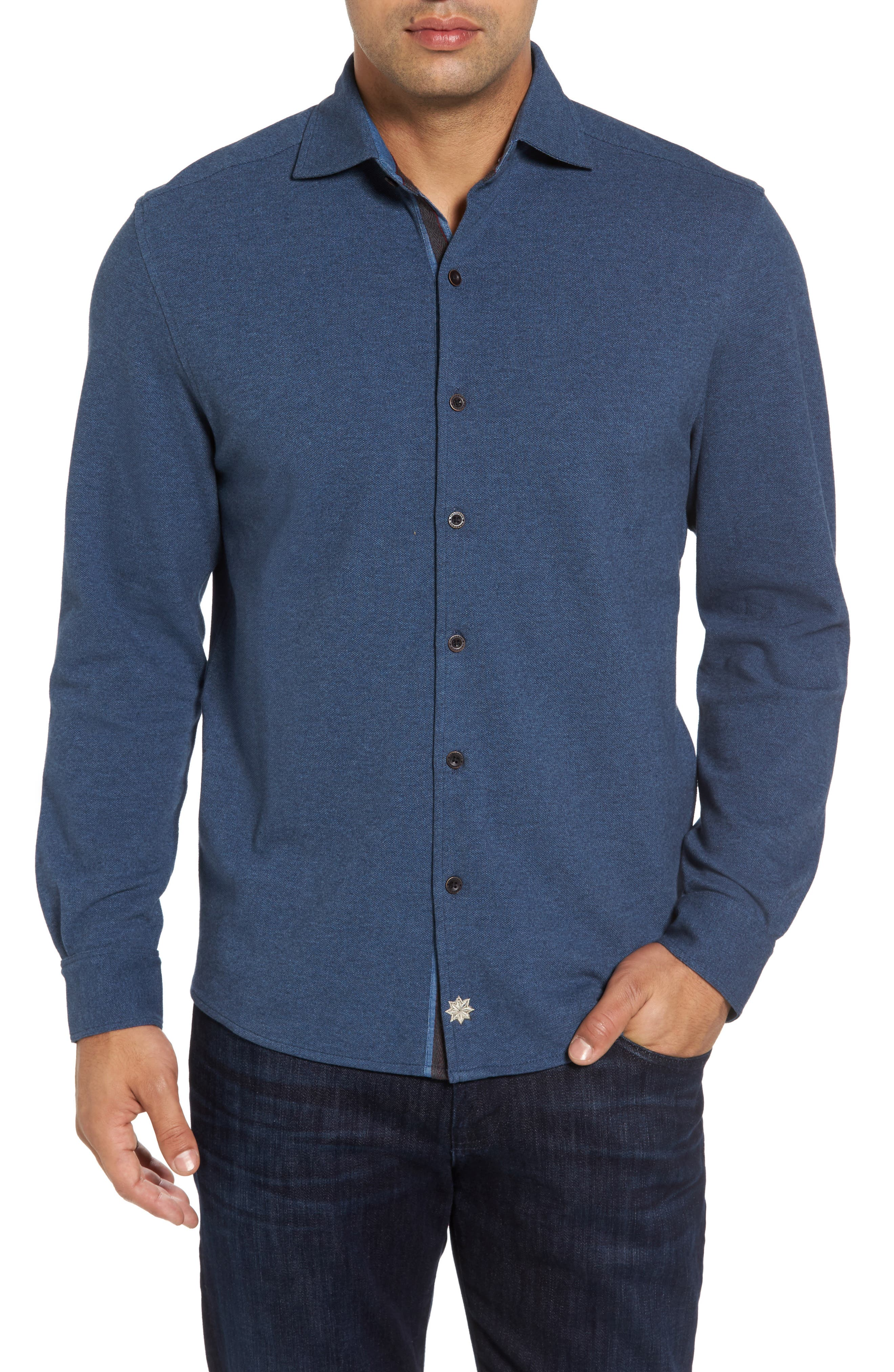 Alternate Image 1 Selected - Thaddeus Shandy Heathered Knit Sport Shirt