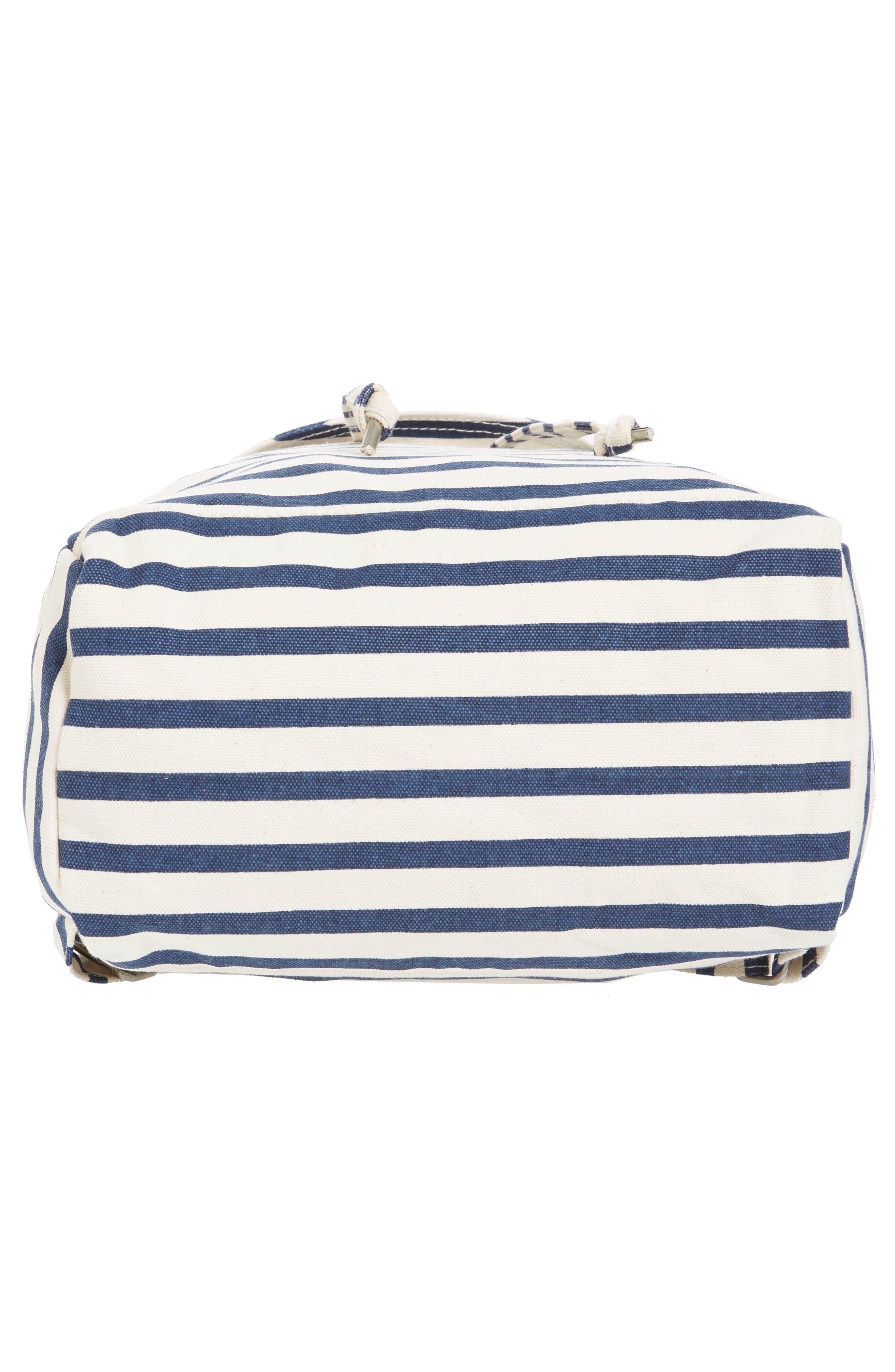 Drawstring Canvas Backpack,                             Alternate thumbnail 5, color,                             Sailor Stripe