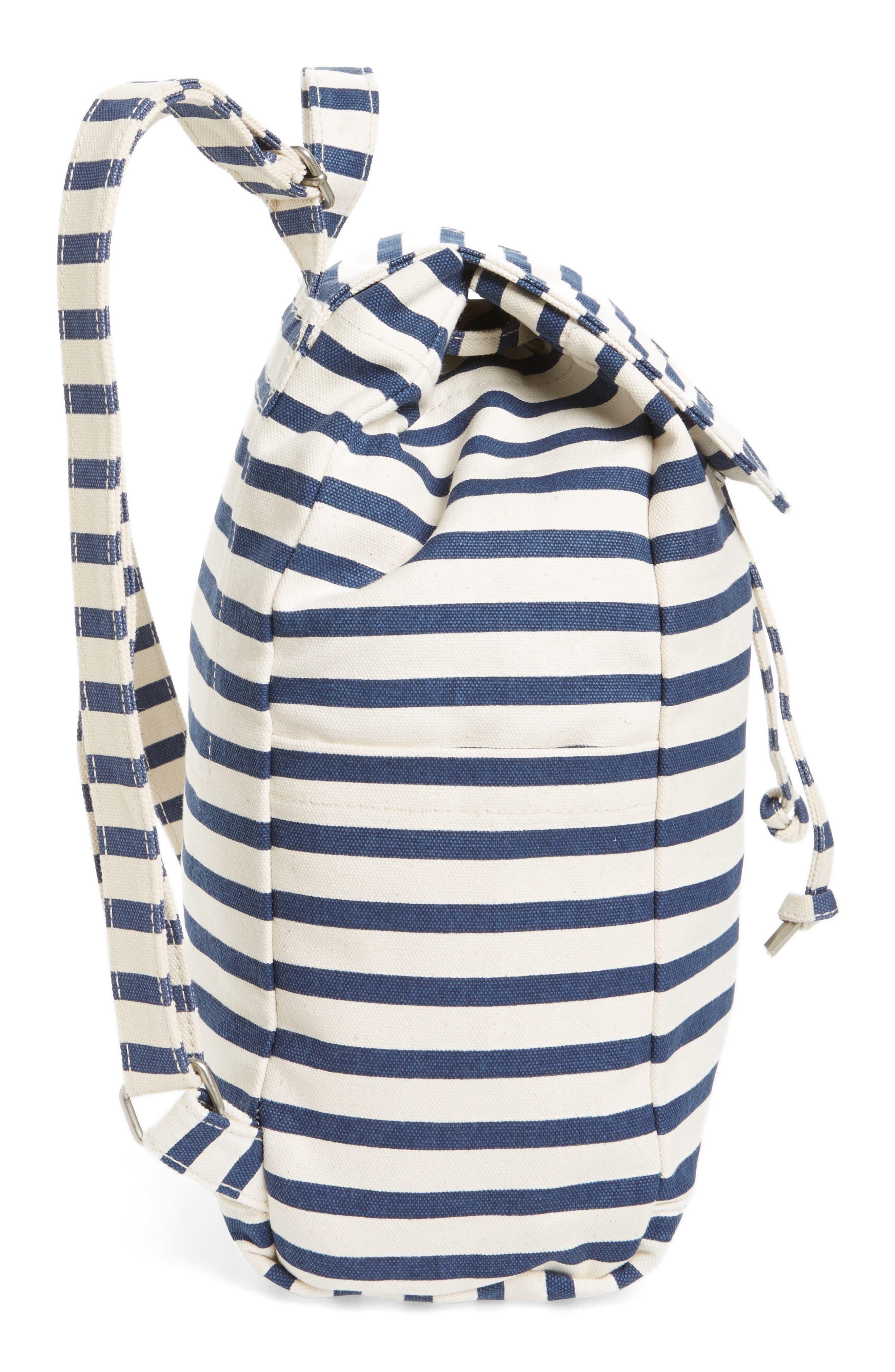 Drawstring Canvas Backpack,                             Alternate thumbnail 4, color,                             Sailor Stripe