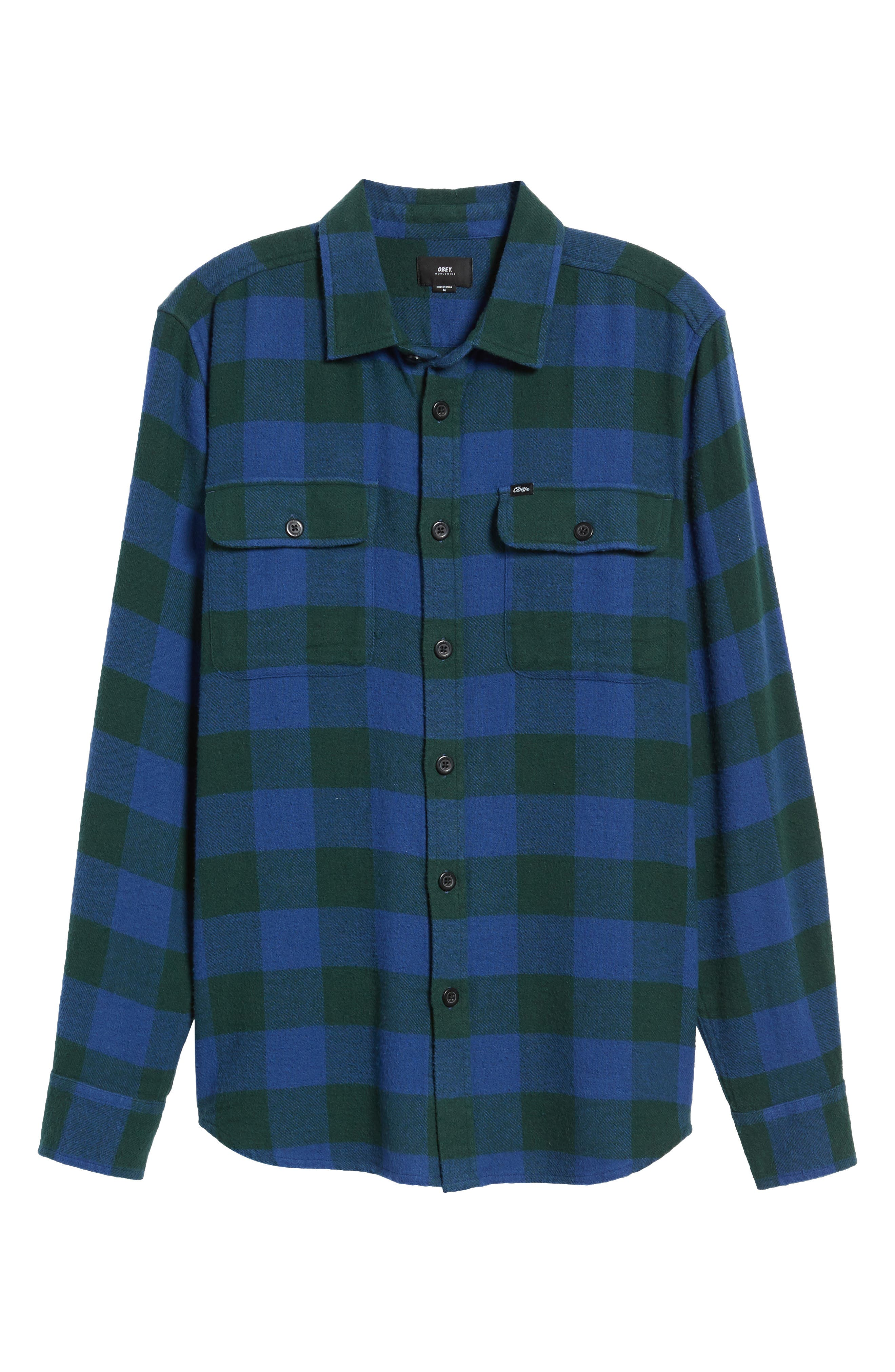 Trent Check Woven Shirt,                             Alternate thumbnail 5, color,                             Navy Multi