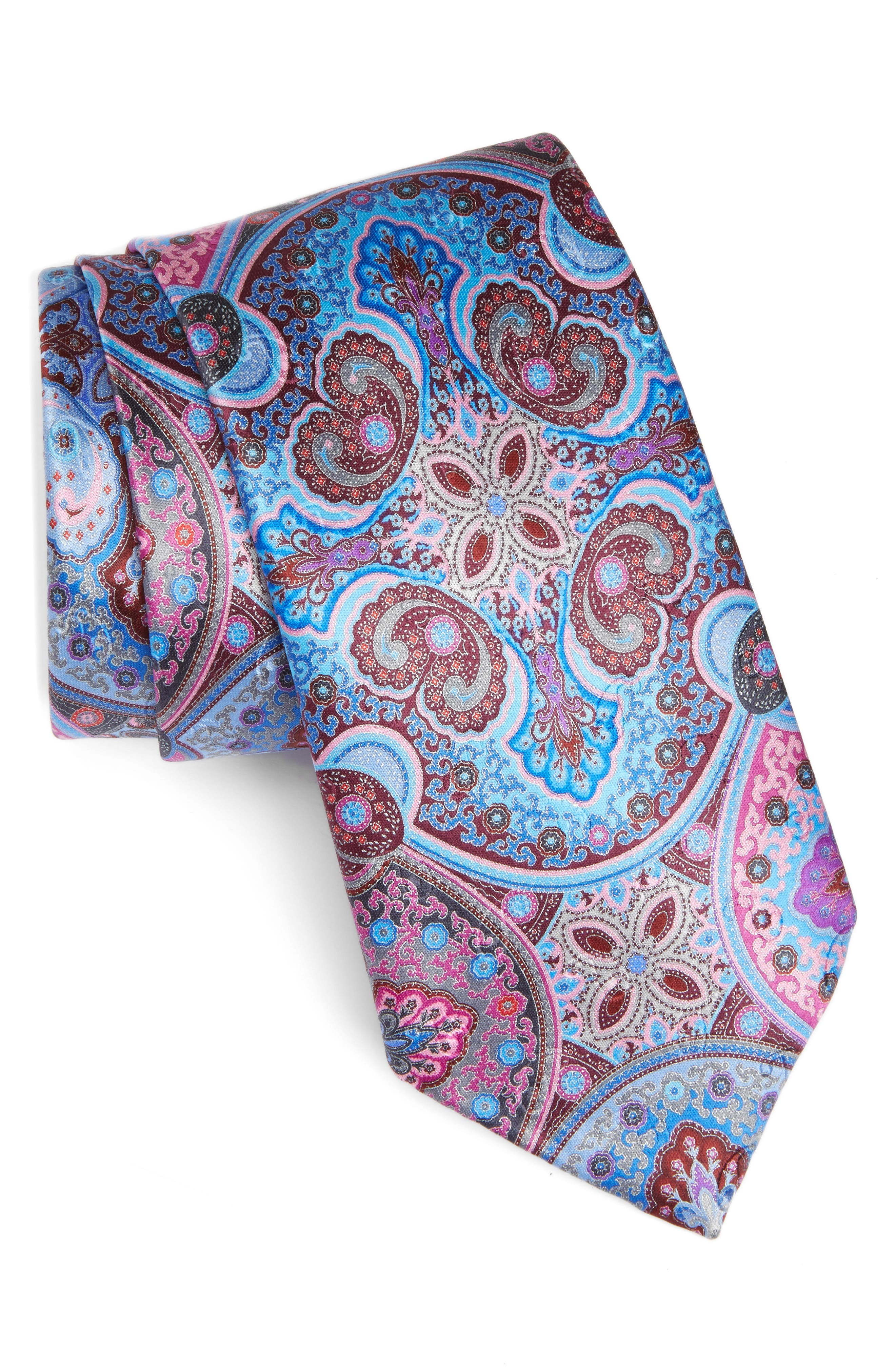Quindici Paisley Silk Tie,                         Main,                         color, Pink