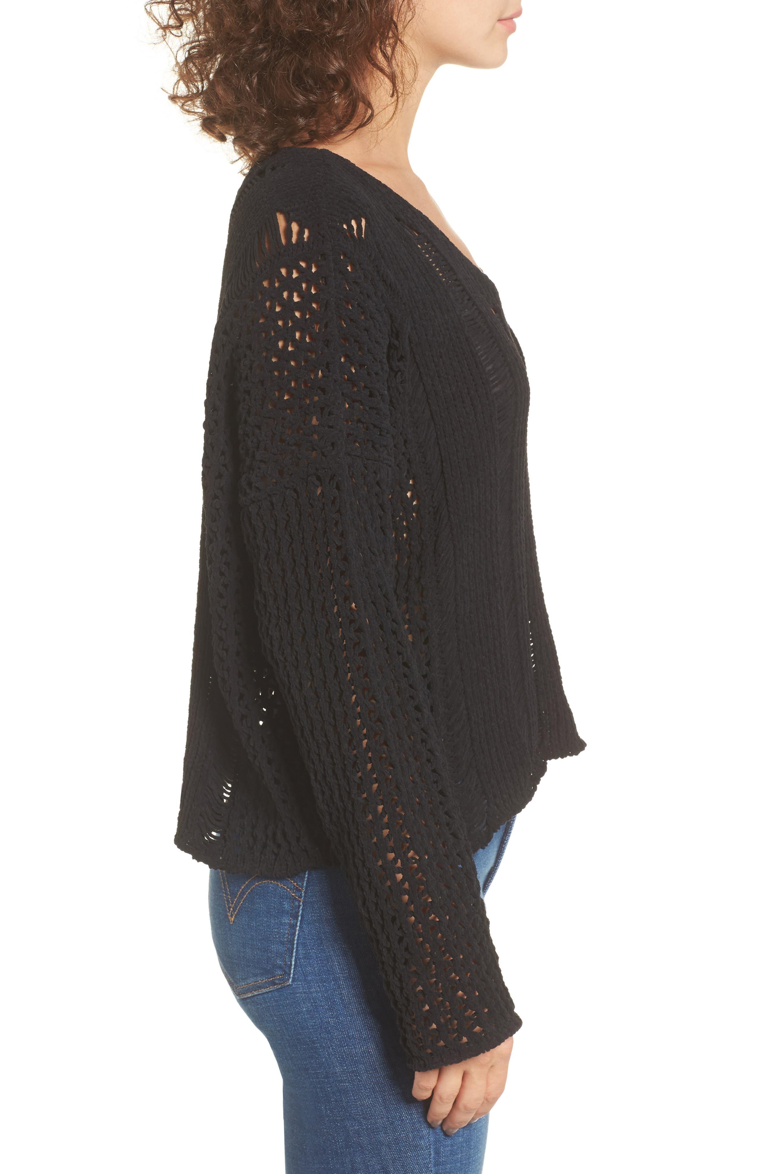 Alternate Image 4  - MOON RIVER Net Detail Sweater