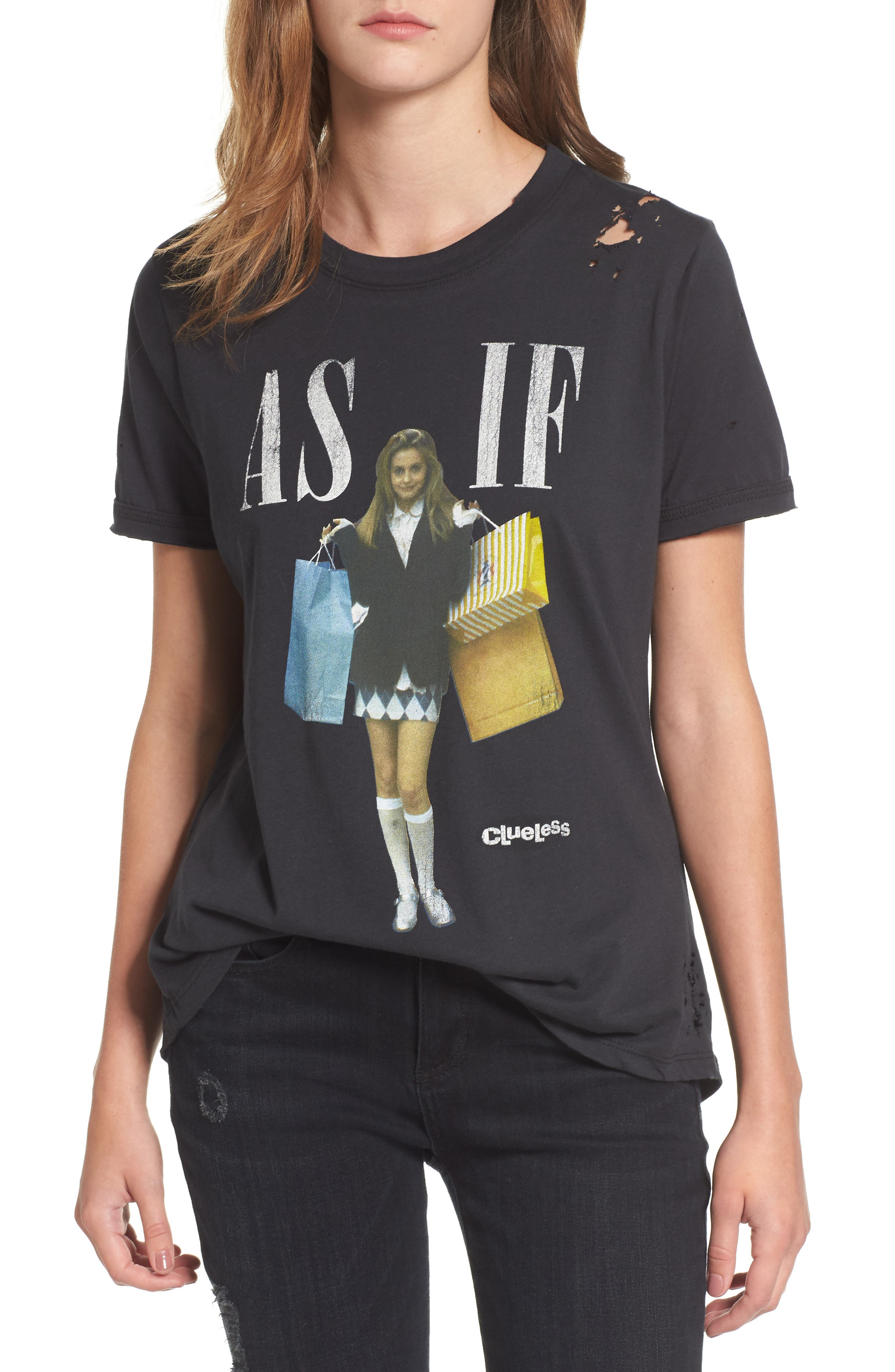 x Clueless As If Tee,                         Main,                         color, Off Black