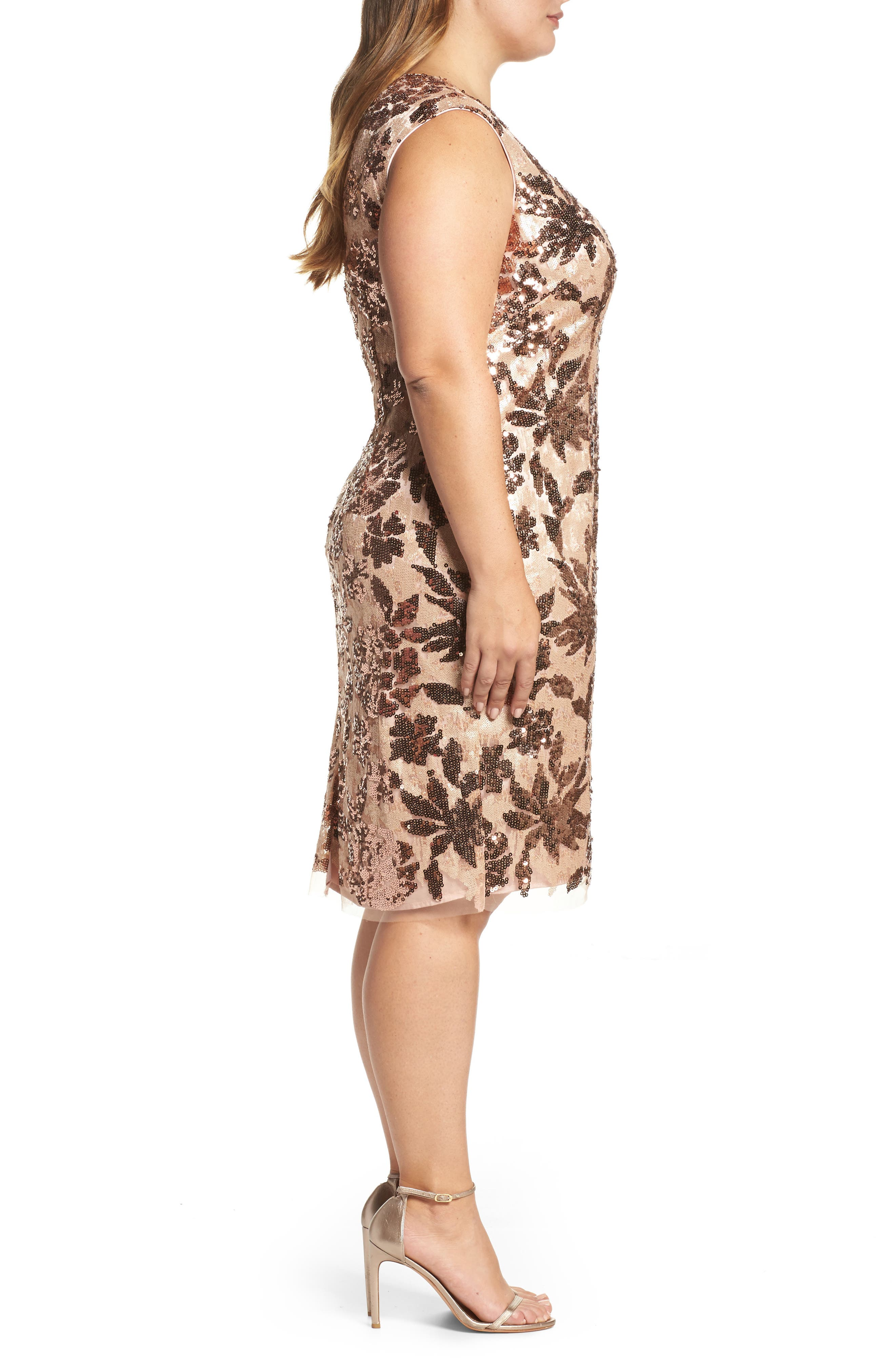 Sequin Sheath Dress,                             Alternate thumbnail 3, color,                             Rose Gold