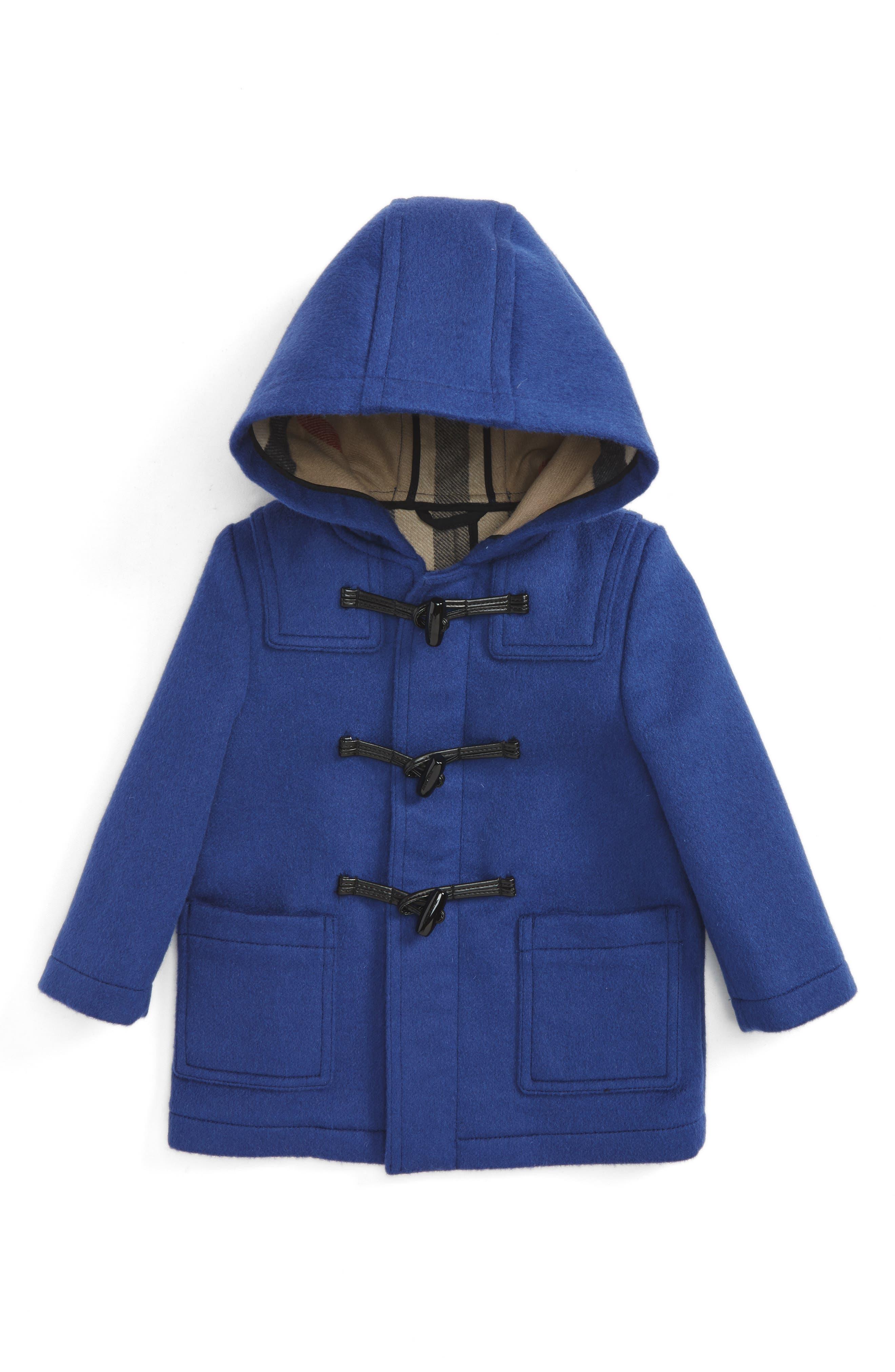 Alternate Image 1 Selected - Burberry Brogan Hooded Wool Toggle Coat (Baby Boys)