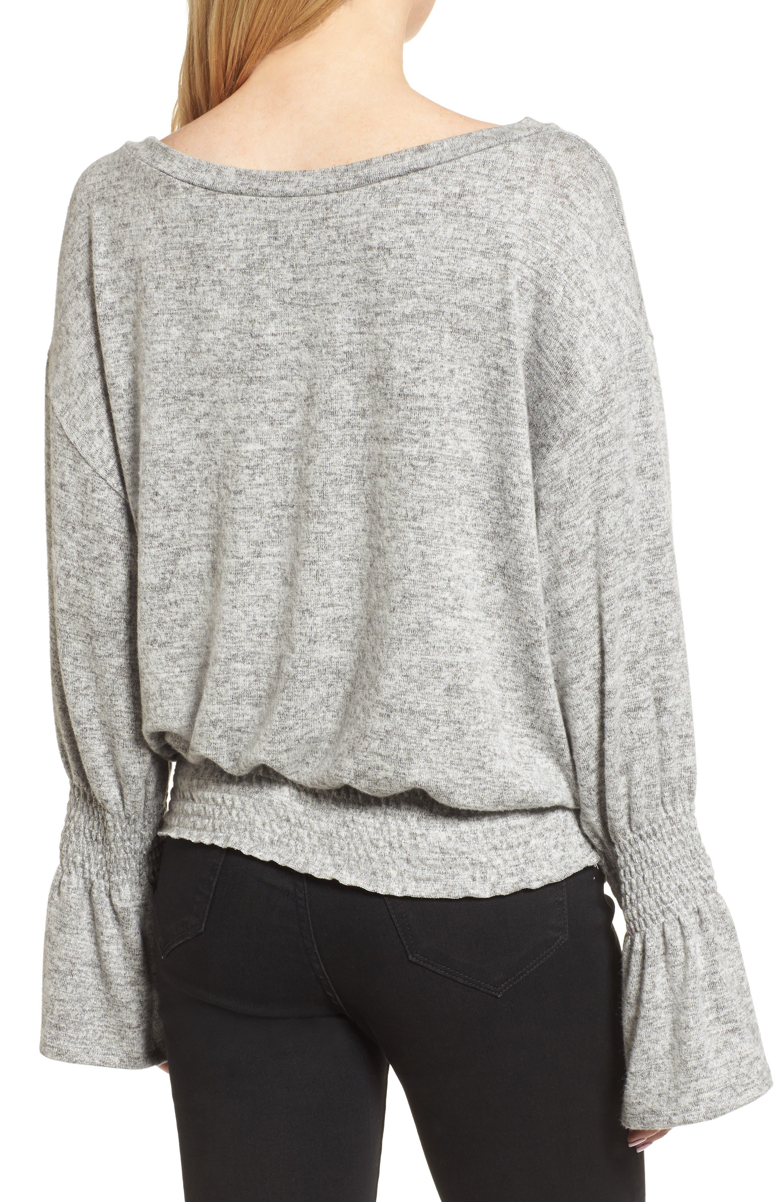 Brushed Smocked Sweatshirt,                             Alternate thumbnail 2, color,                             Grey Heather
