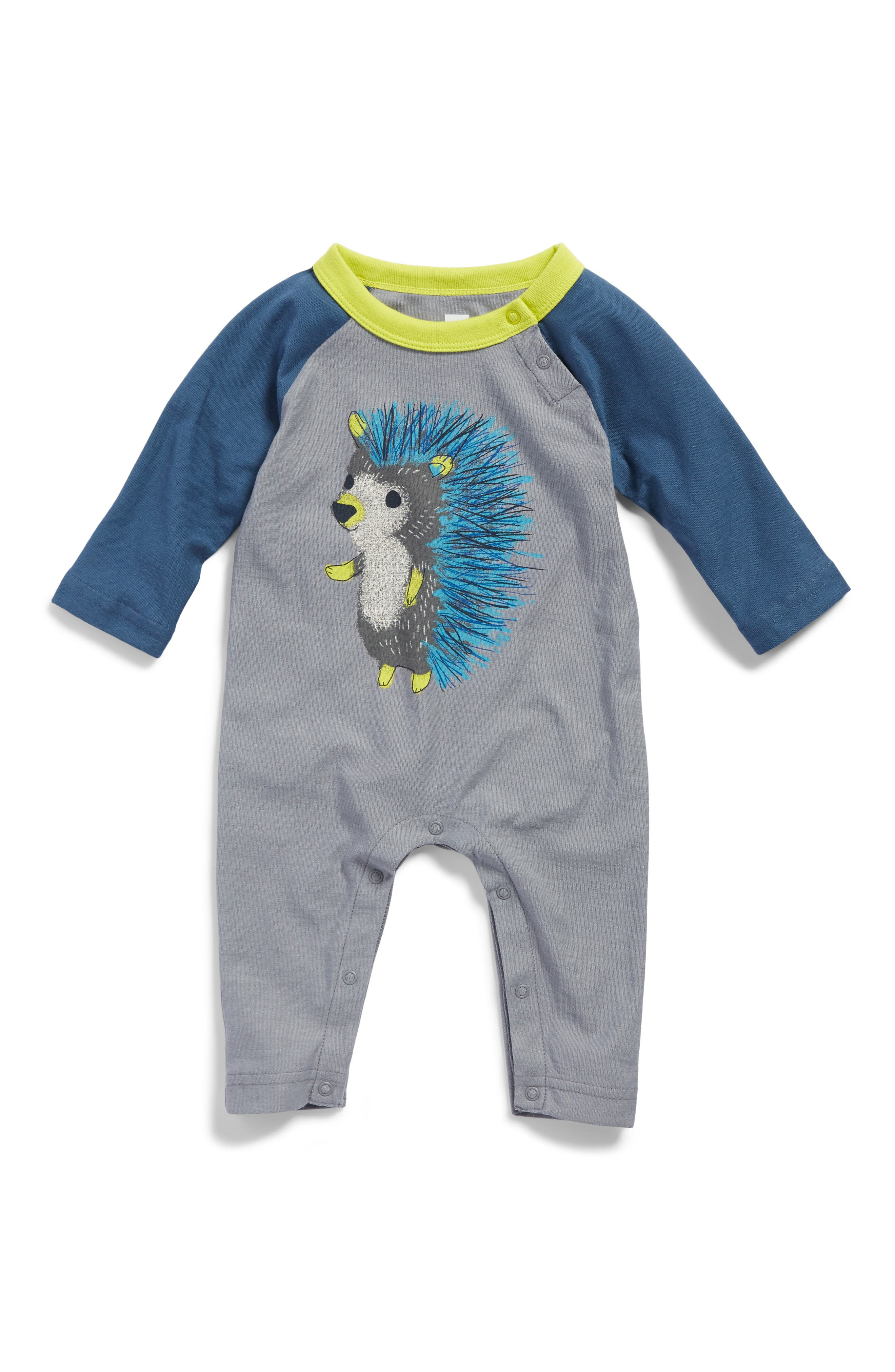 Alternate Image 1 Selected - Tea Collection Hedgehog Graphic Romper (Baby Boys)