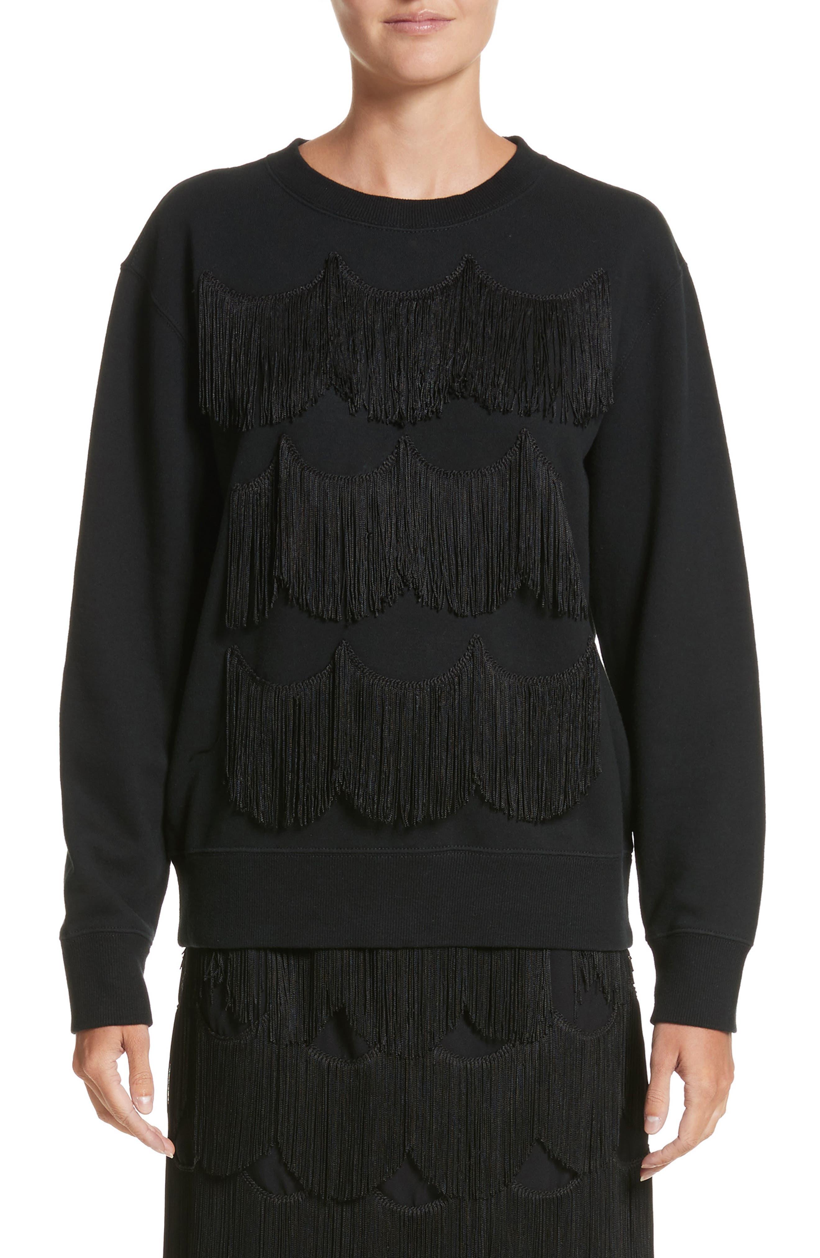 Fringe Cotton Sweatshirt,                         Main,                         color, Black