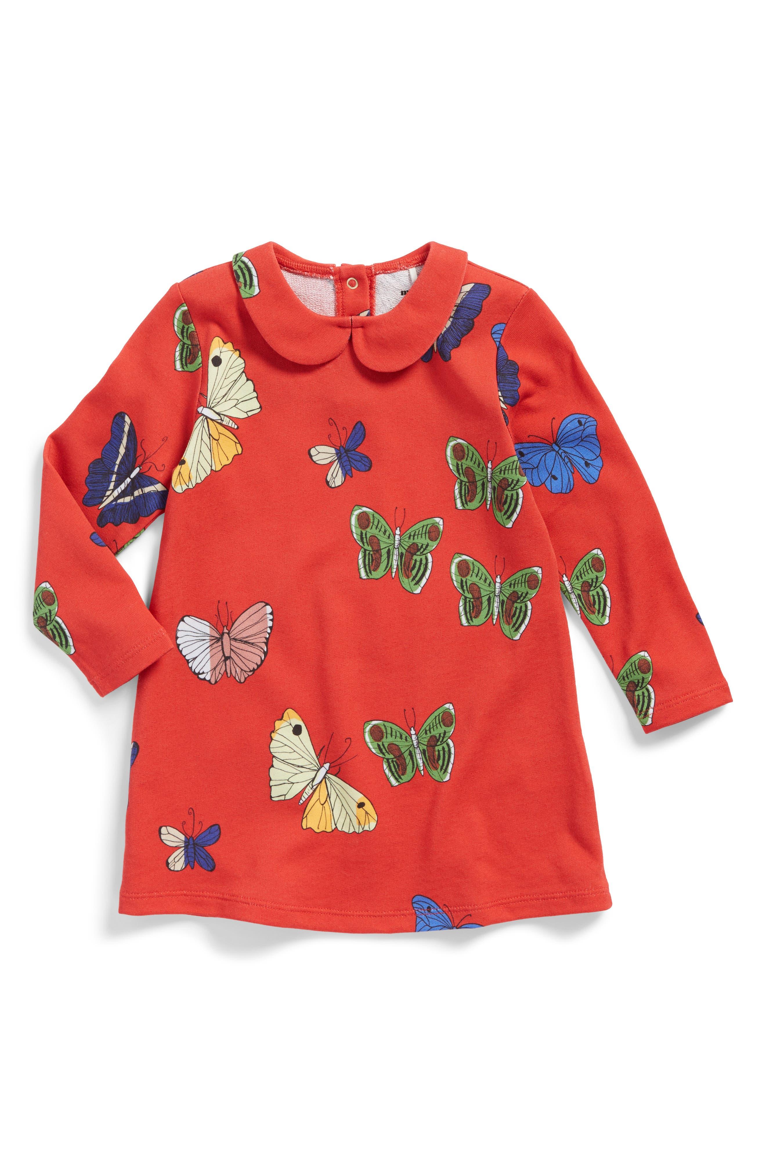 Main Image - Mini Rodini Butterflies Peter Pan Collar Dress (Baby Girls)