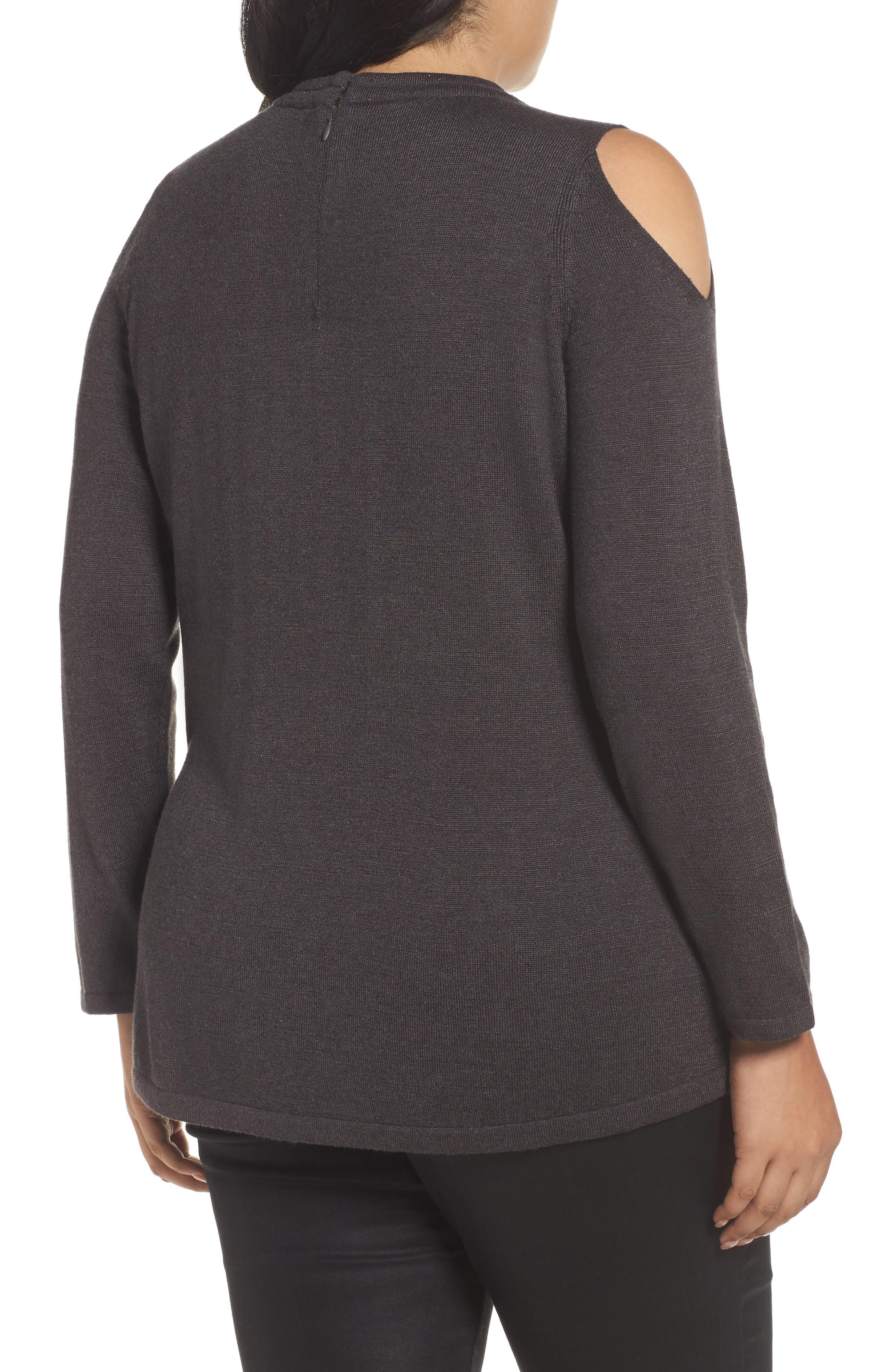 Alternate Image 2  - NIC+ZOE Jeweled Neck Cold Shoulder Sweater (Plus Size)
