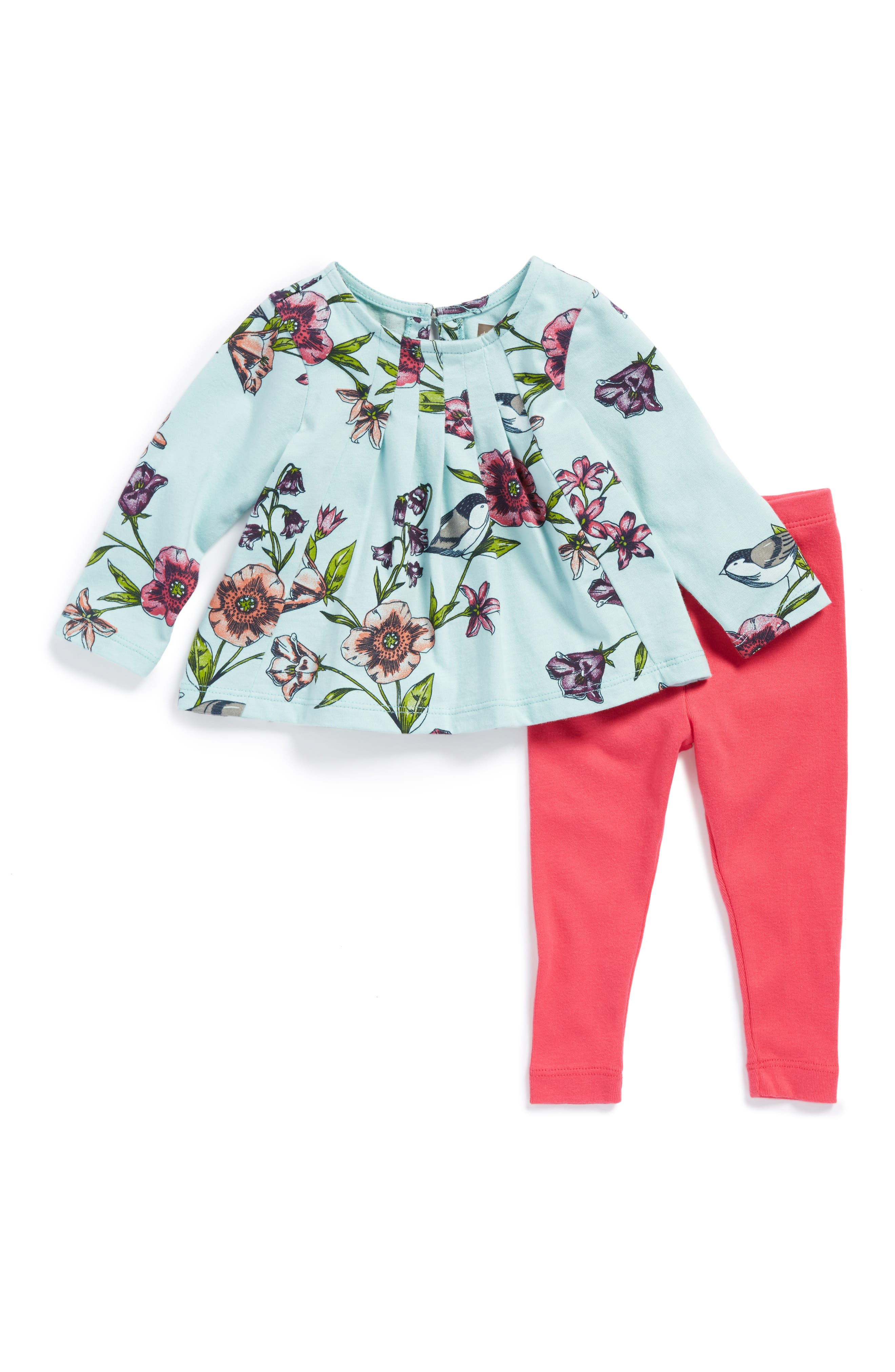 Tea Collection Glenna Print Trapeze Top & Leggings Set (Baby Girls)