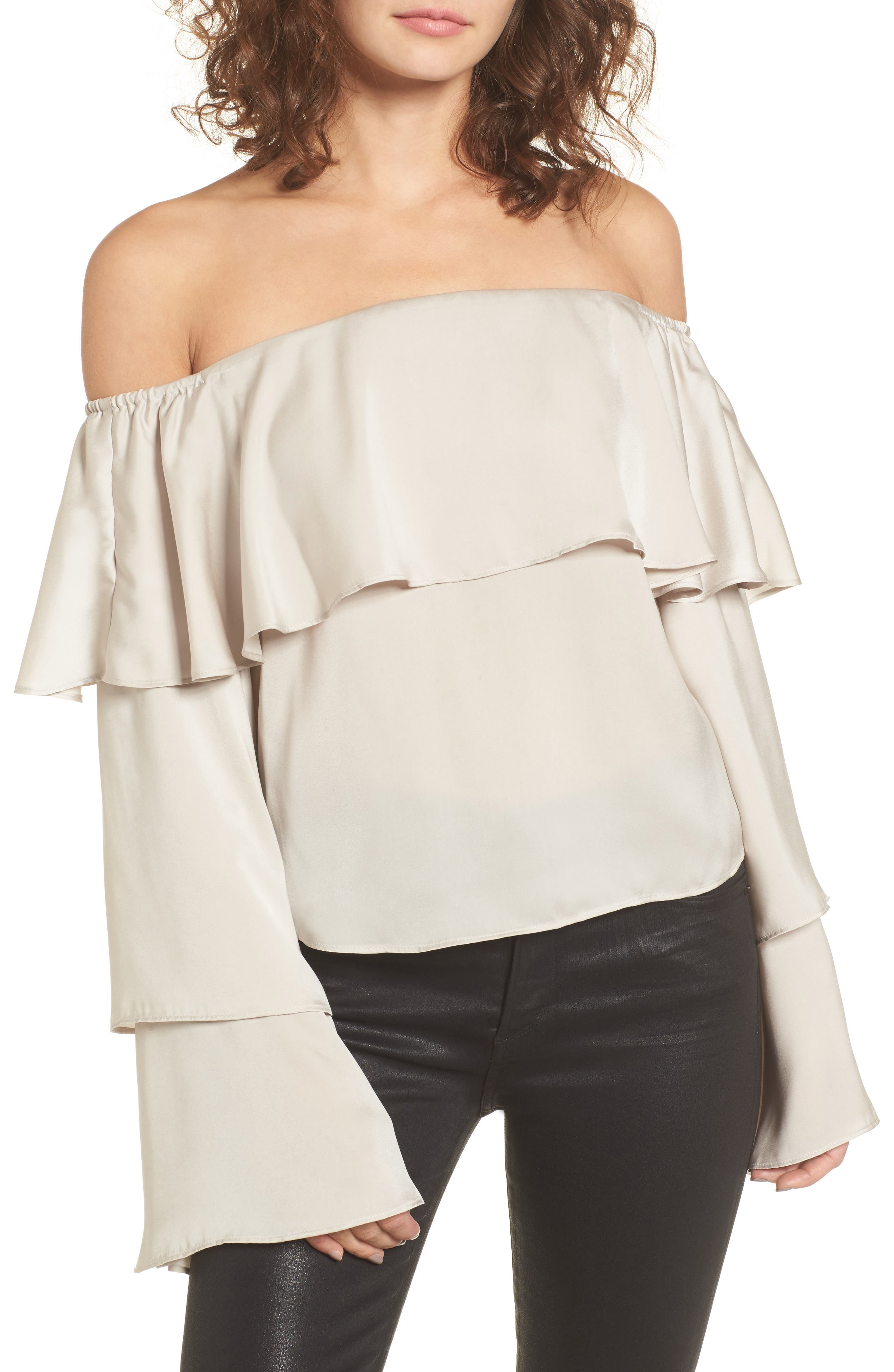 Main Image - Leith Off the Shoulder Ruffle Top