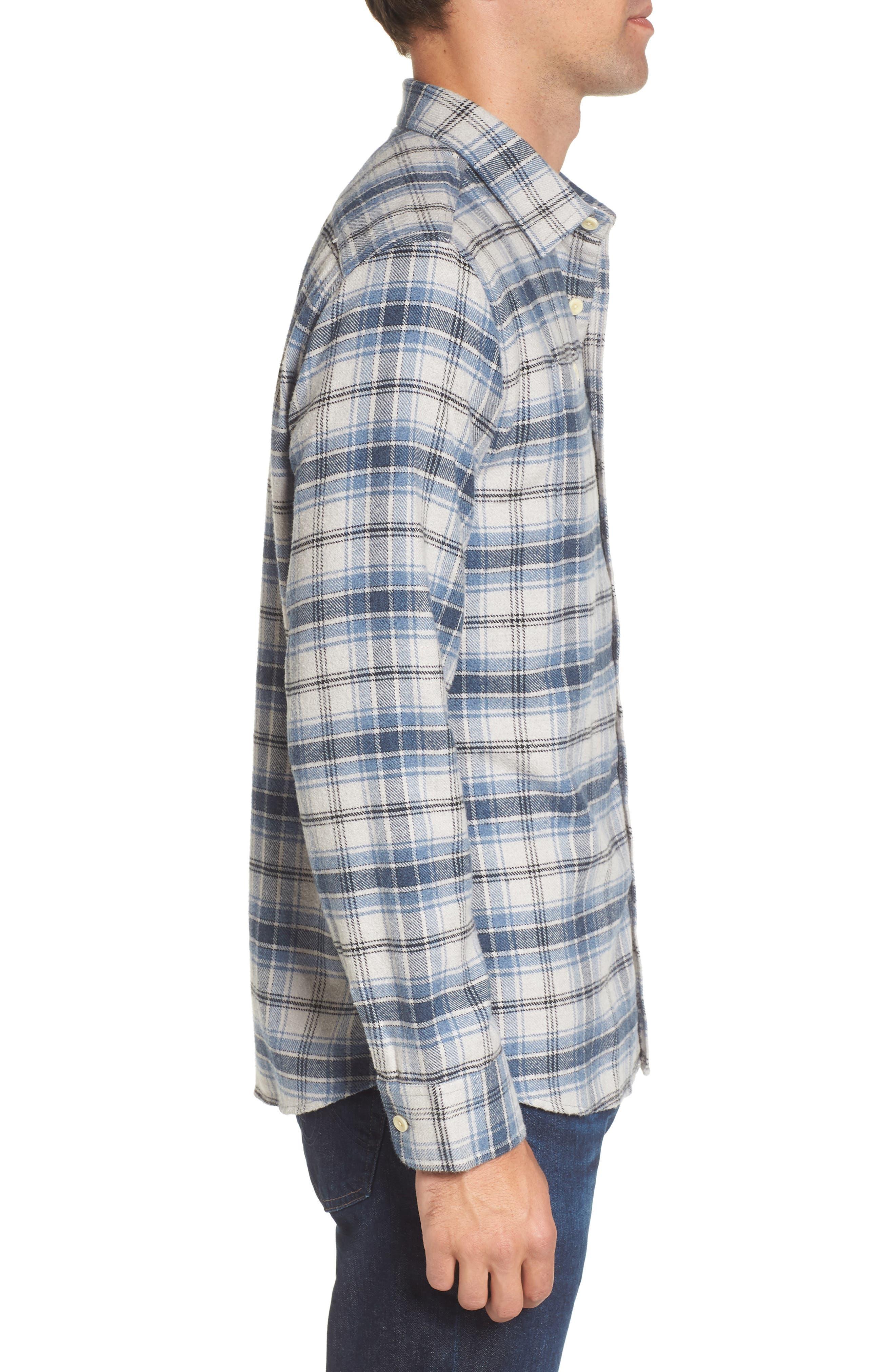 Campton Heritage Plaid Flannel Shirt,                             Alternate thumbnail 3, color,                             Blue Stone