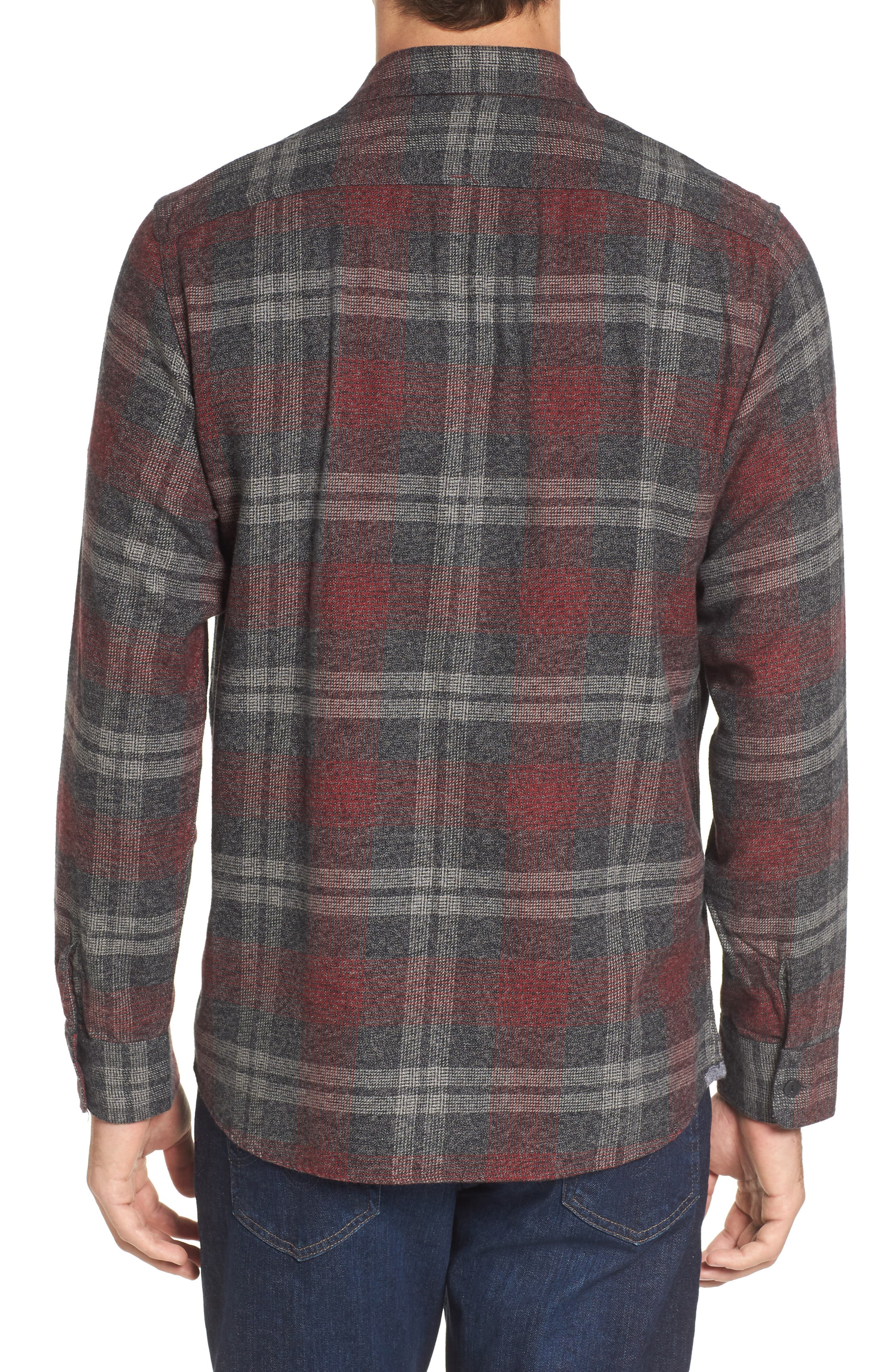 Marston Lux Plaid Flannel Shirt,                             Alternate thumbnail 2, color,                             Charcoal Burgundy
