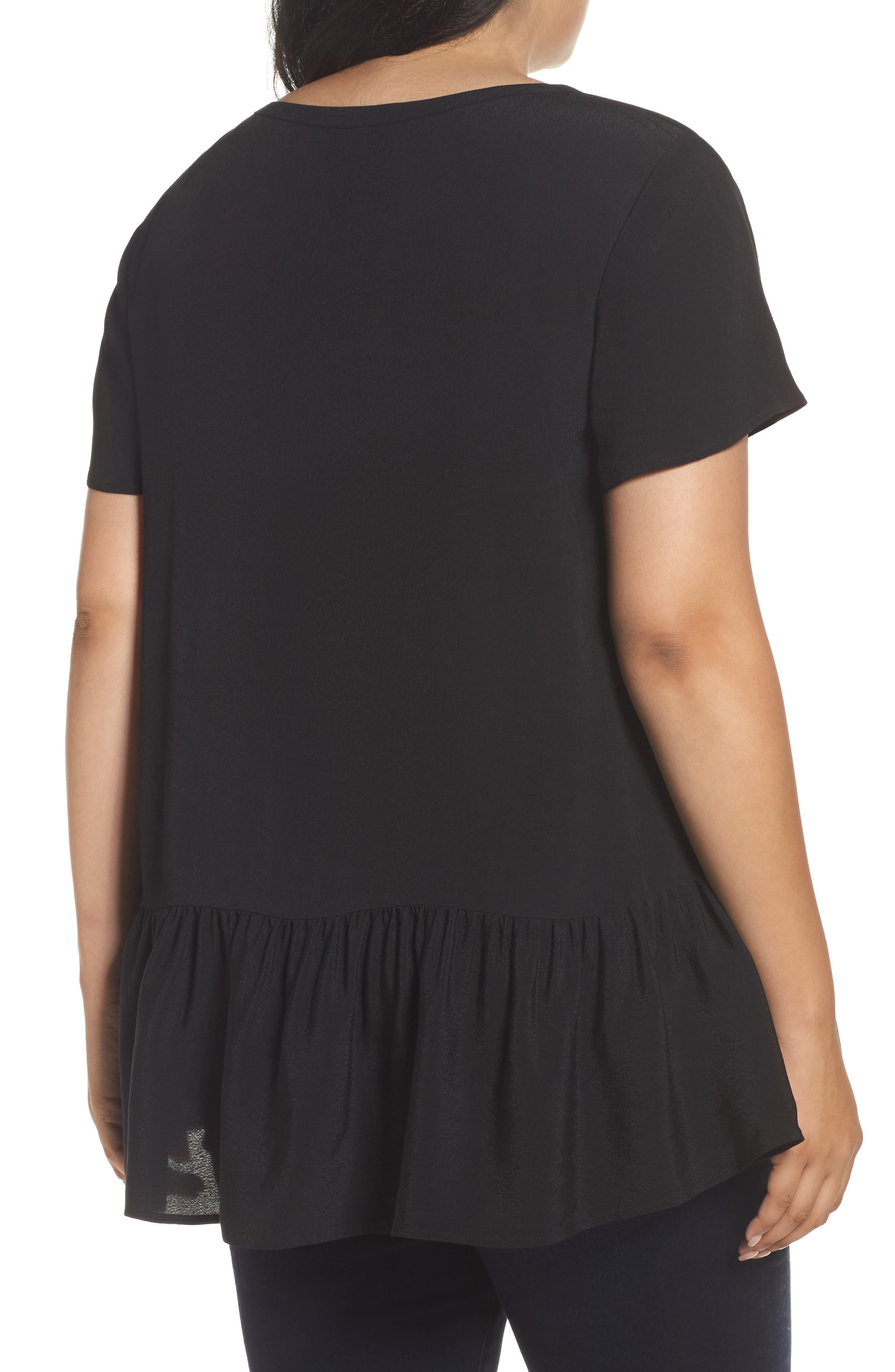 V-Neck Peplum Top,                             Alternate thumbnail 2, color,                             Black