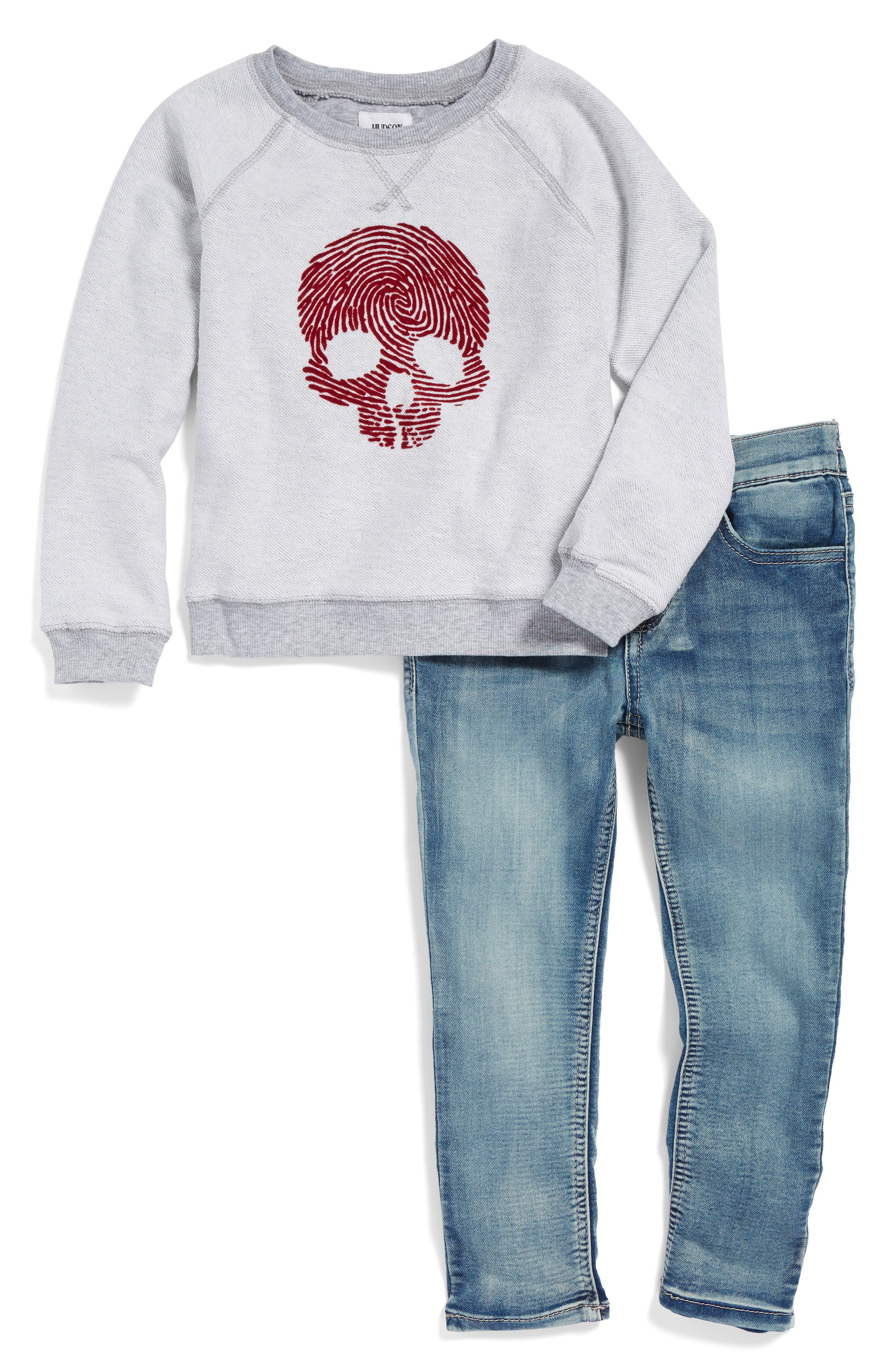 Hudson Skull Graphic French Terry Sweatshirt & Jeans Set (Toddler Boys)