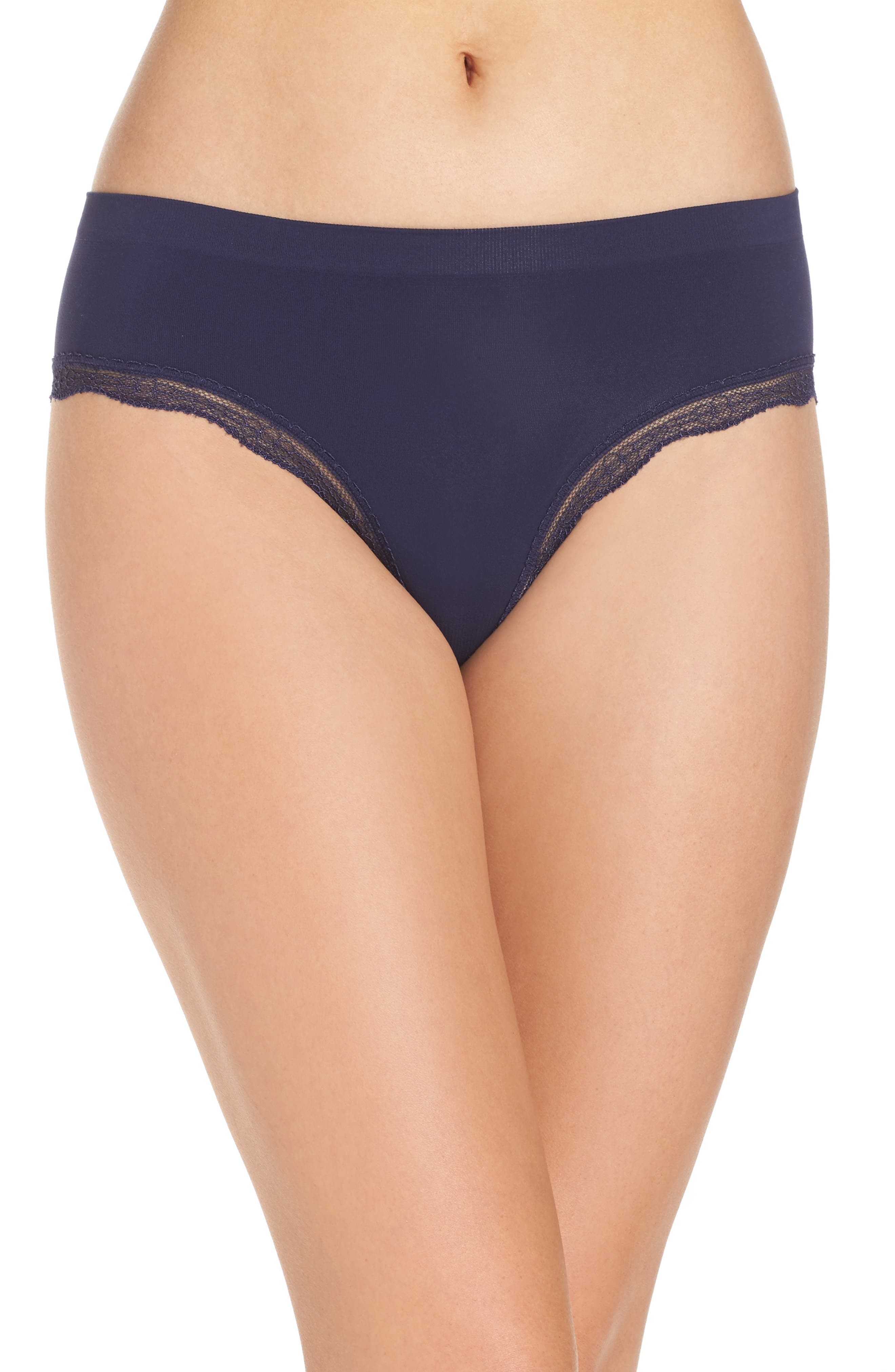 Main Image - Halogen® Lace Trim Seamless Hipster Briefs (3 for $33)