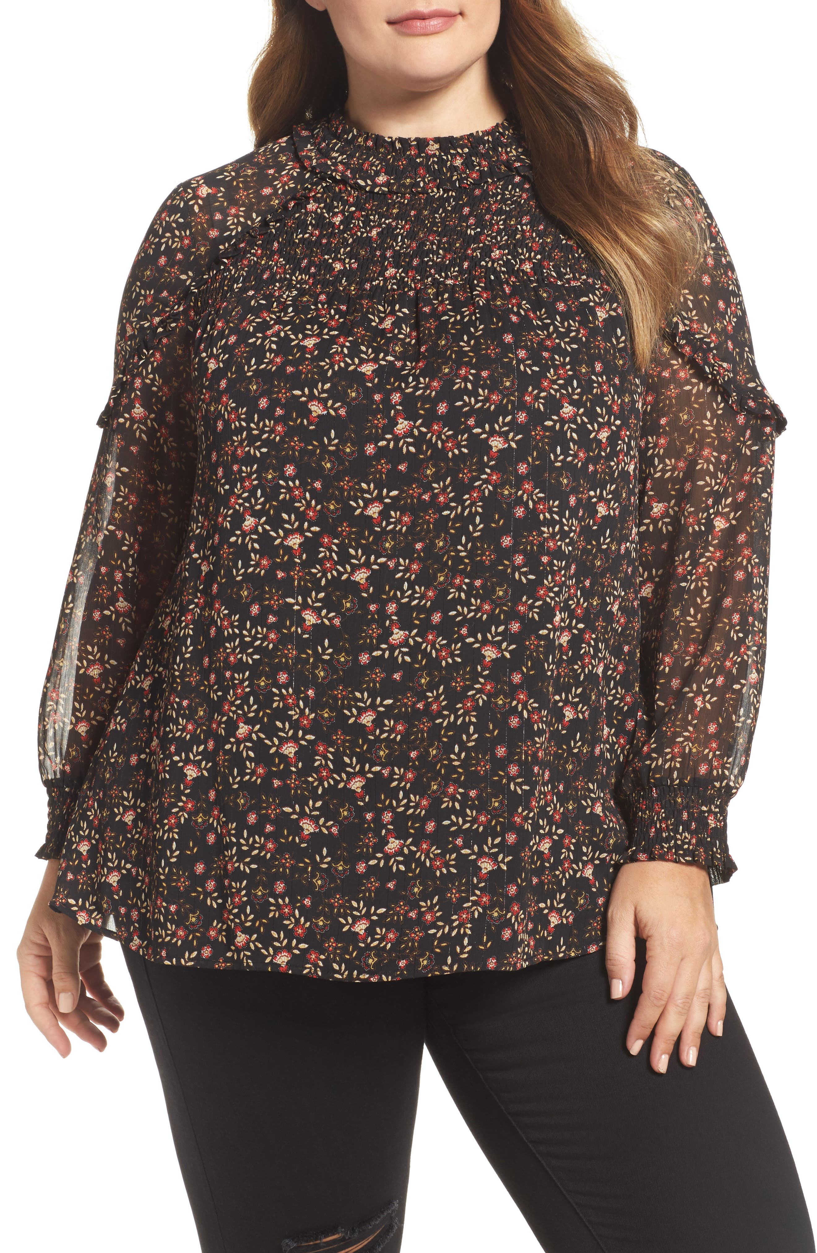 Daniel Rainn Ruffle Trim Metallic Floral Blouse (Plus Size)