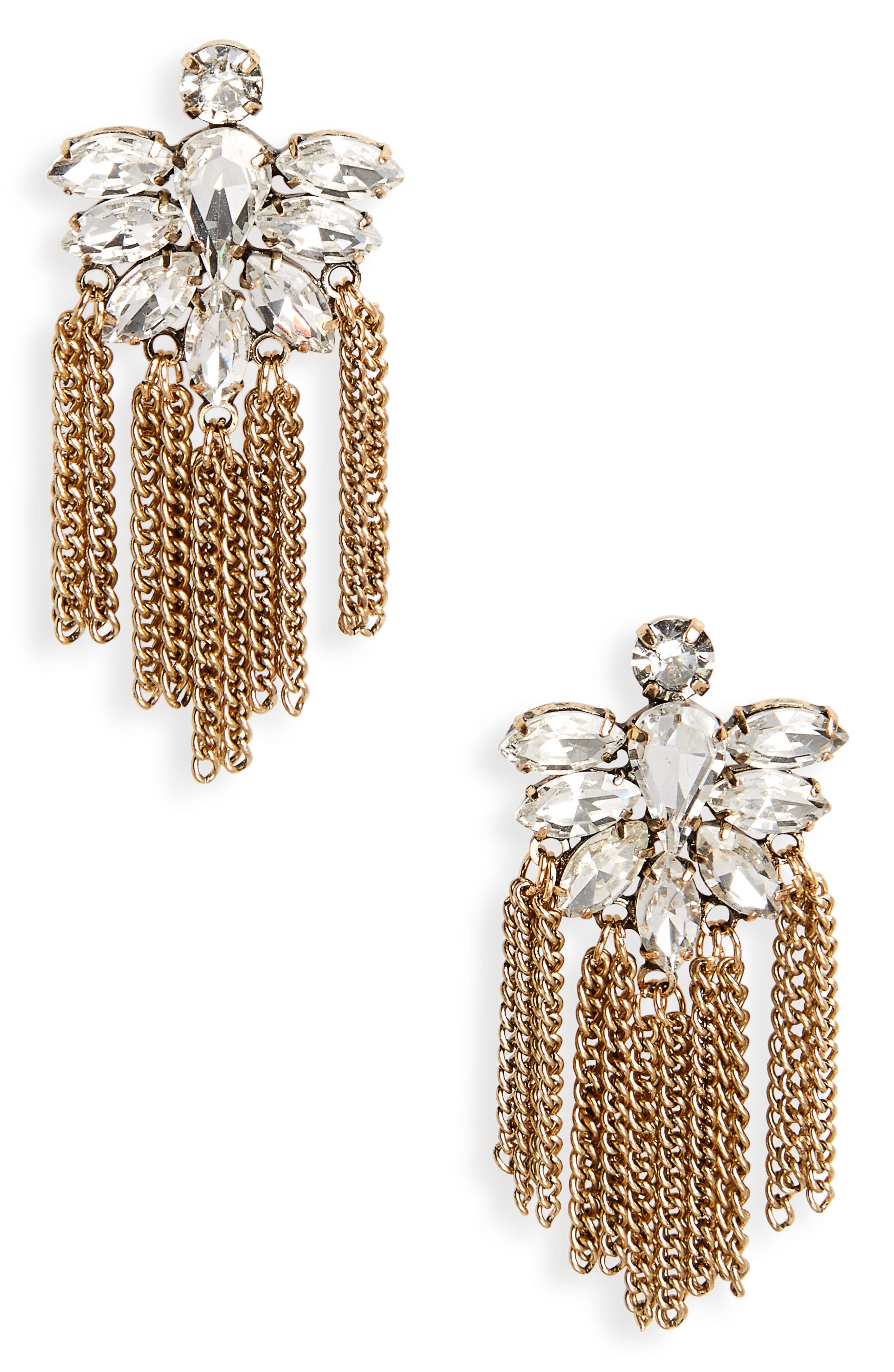 Fringe Earrings,                         Main,                         color, Antique Gold