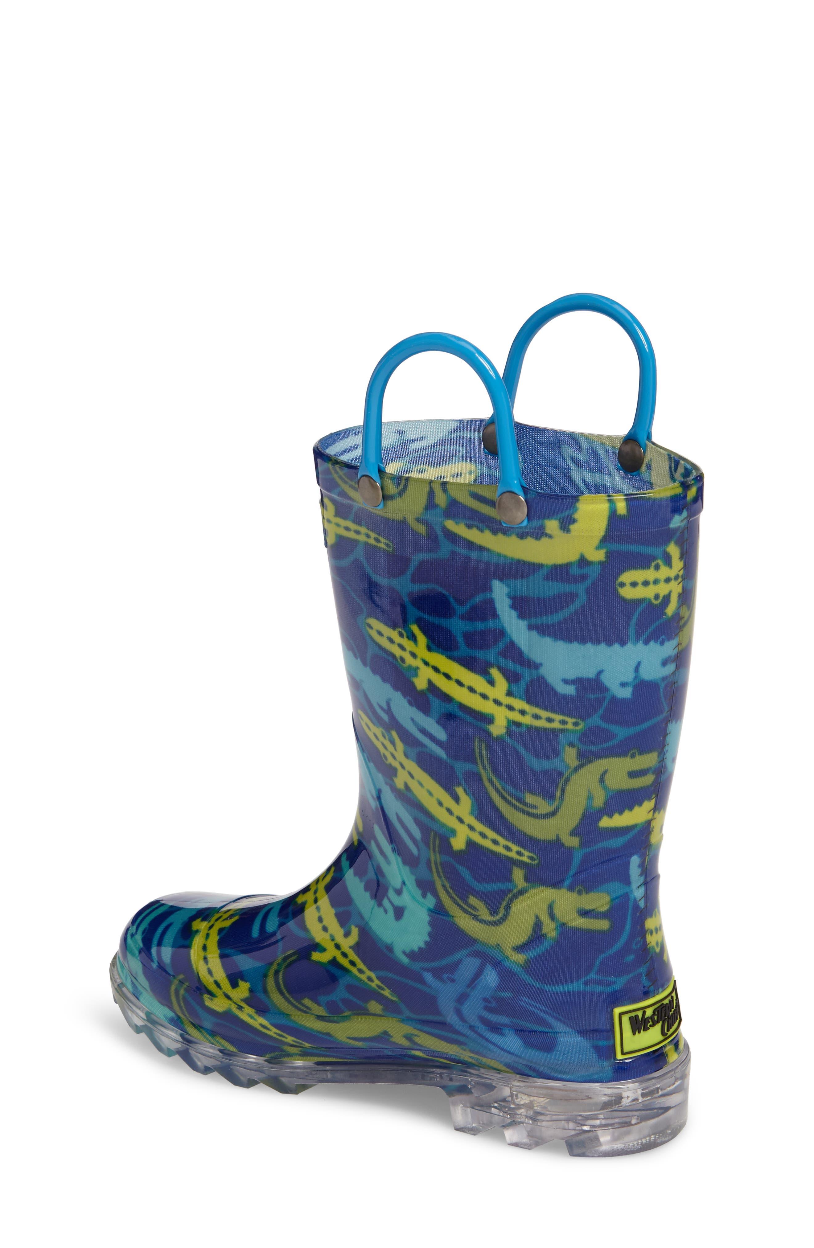 Alternate Image 2  - Western Chief Gators Galore Light-Up Rain Boot (Toddler & Little Kid)