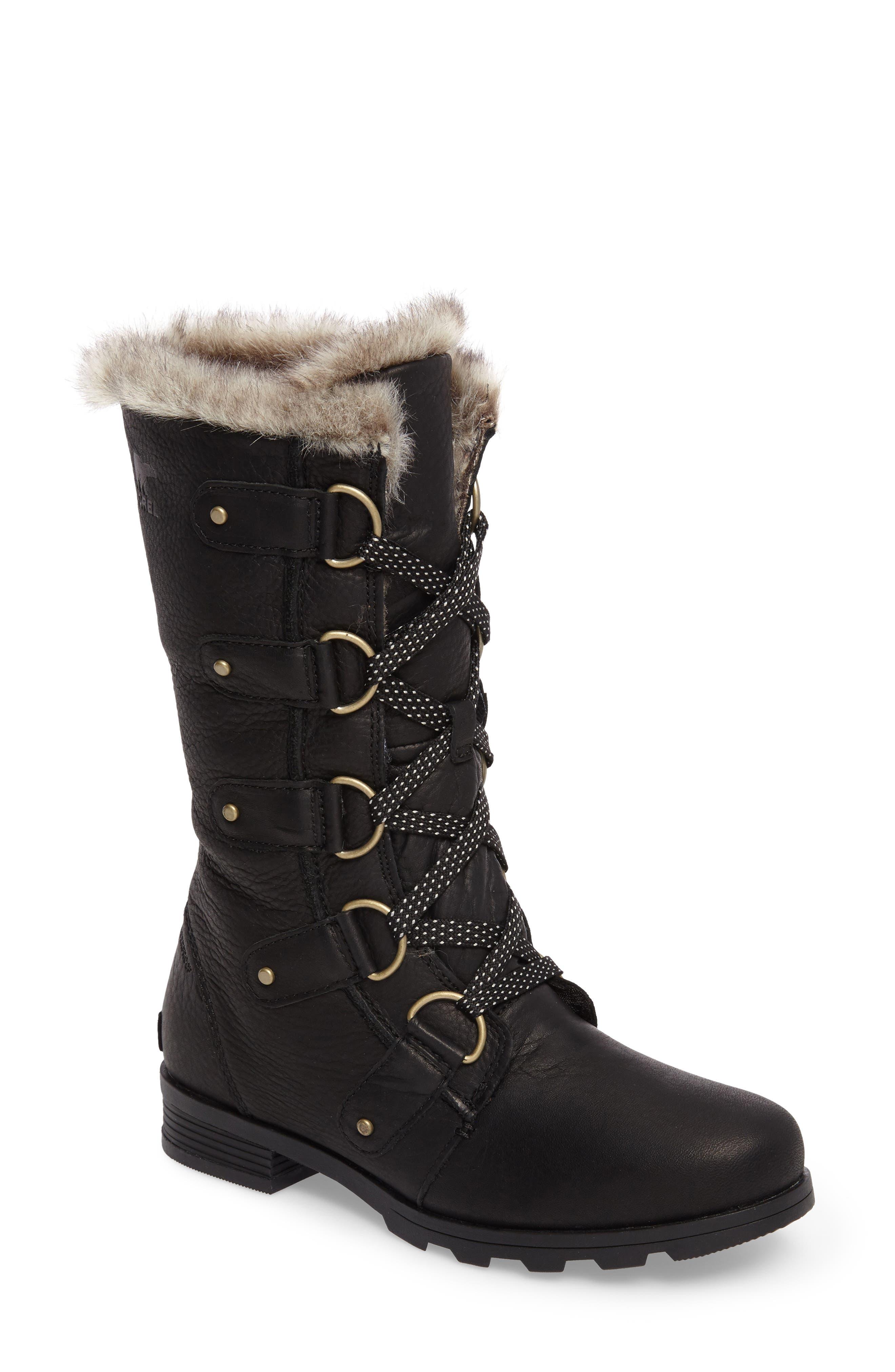 Emelie Waterproof Lace Up Boot with Faux Fur Trim,                             Main thumbnail 1, color,                             Black