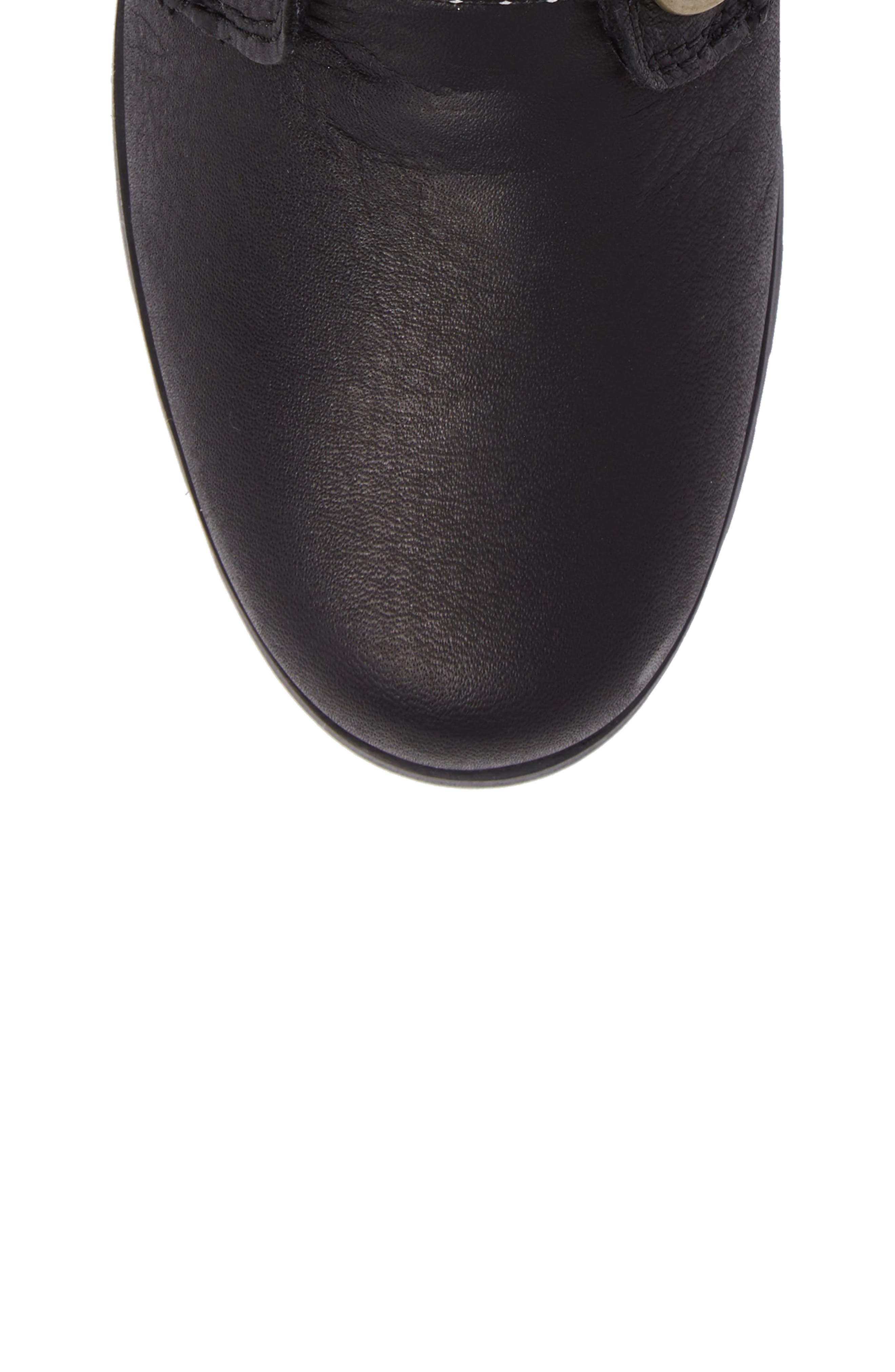 Emelie Waterproof Lace Up Boot with Faux Fur Trim,                             Alternate thumbnail 5, color,                             Black