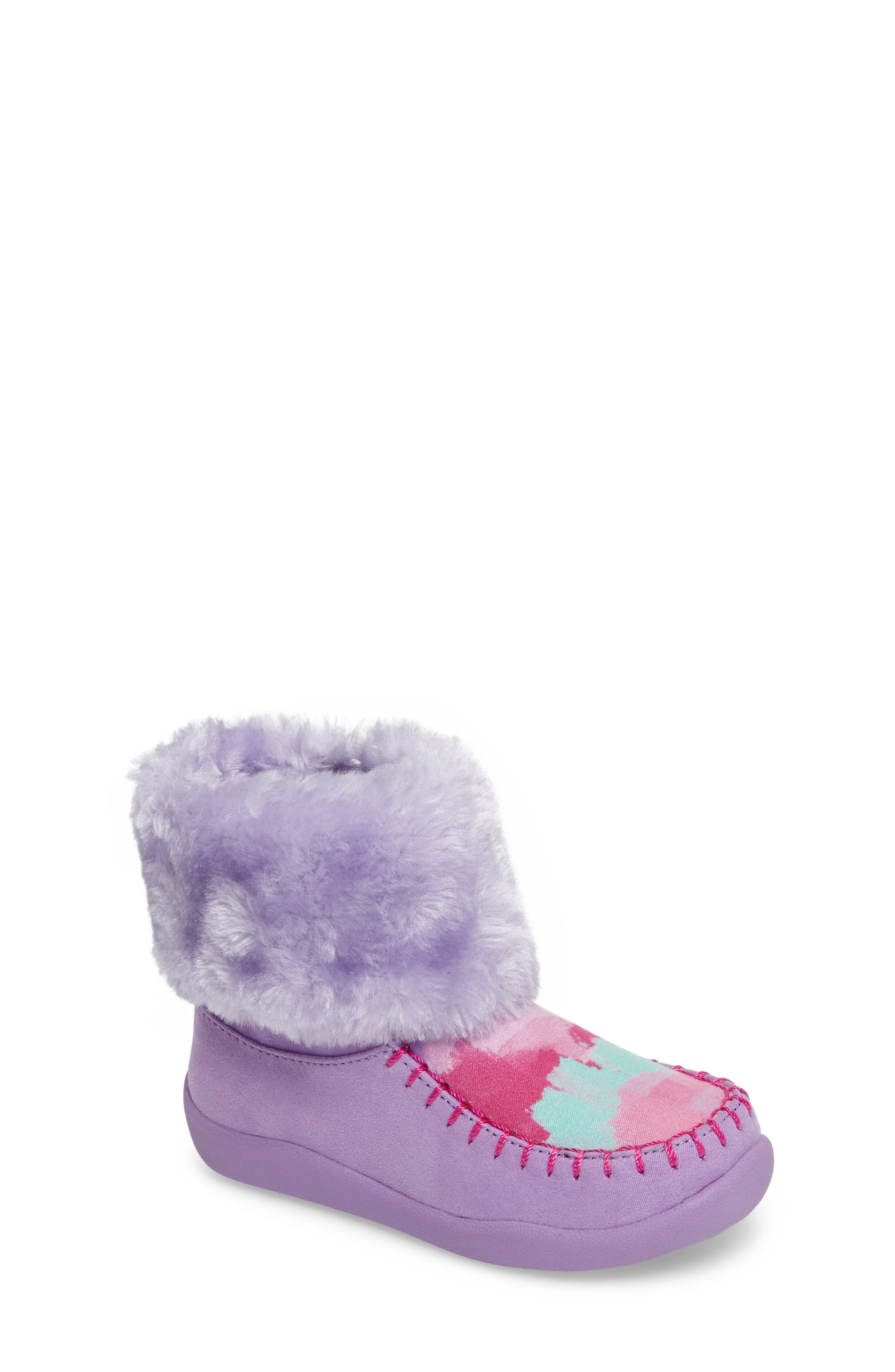 Comfy Faux Fur Patterned Boot,                         Main,                         color, Brush