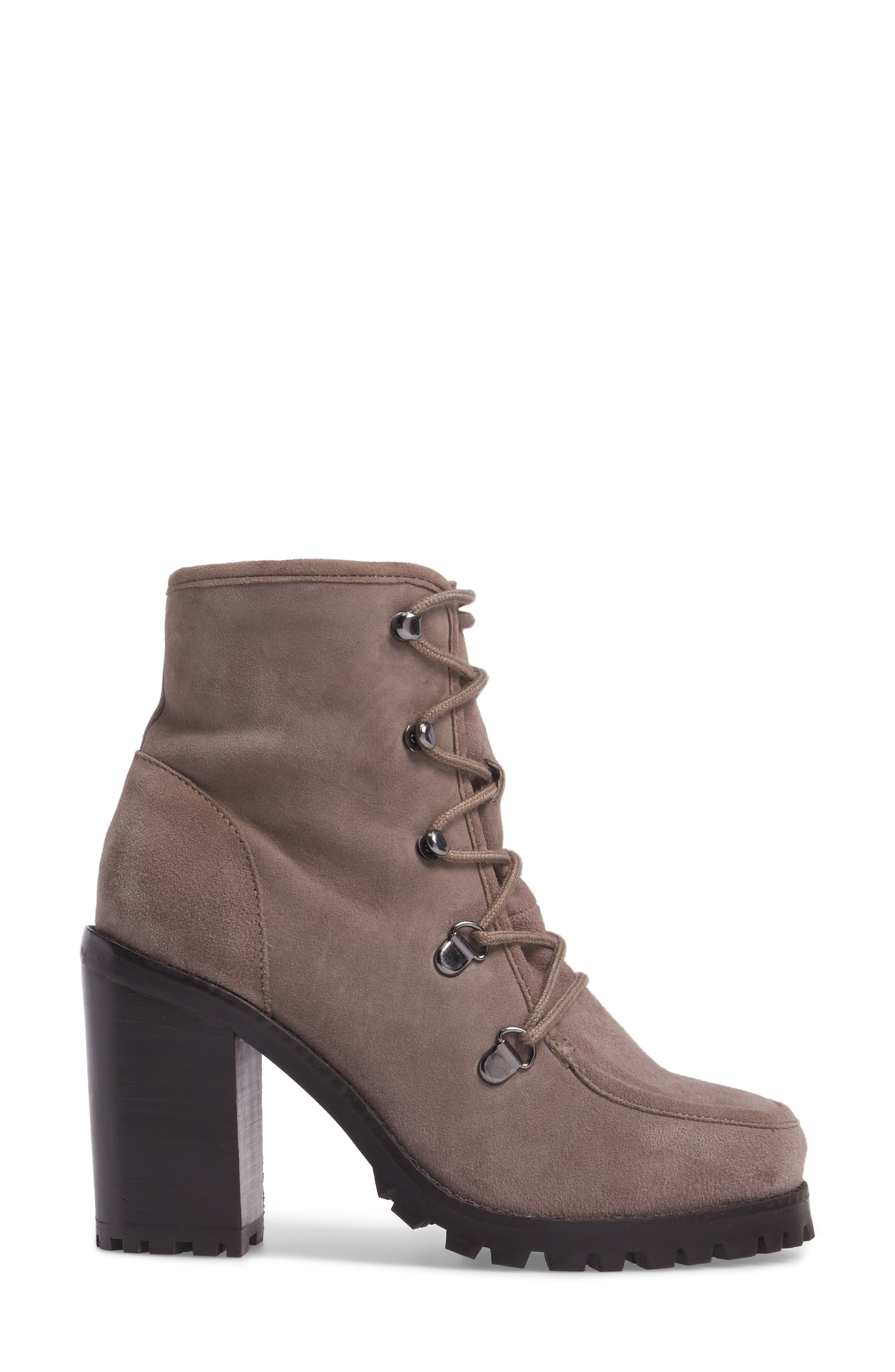 Theater Lace-Up Bootie,                             Alternate thumbnail 3, color,                             Taupe Suede