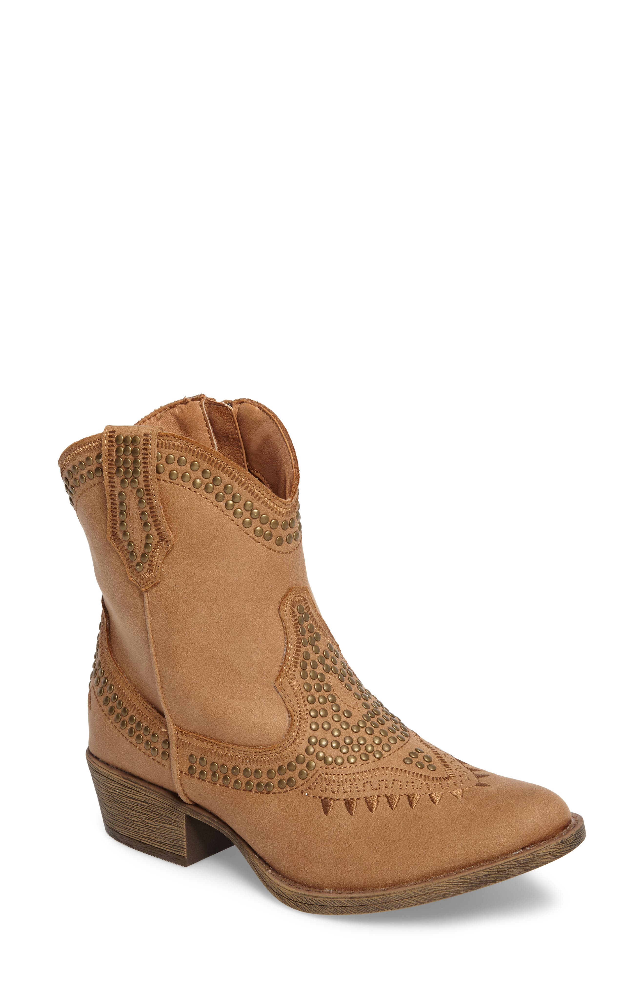 Amour Embellished Western Bootie,                             Main thumbnail 1, color,                             Natural