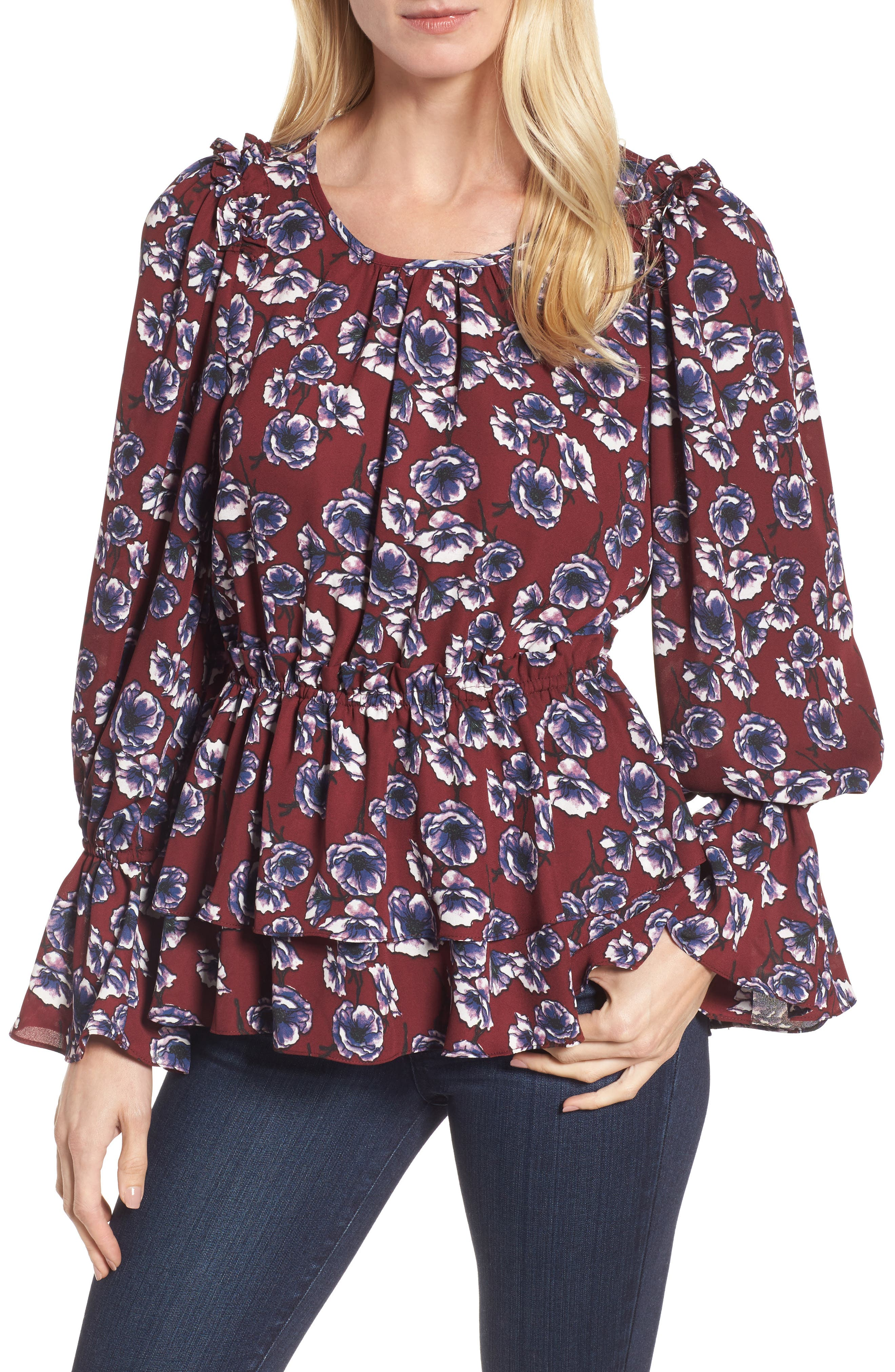 Floral Ruffle Blouse,                         Main,                         color, Burgundy