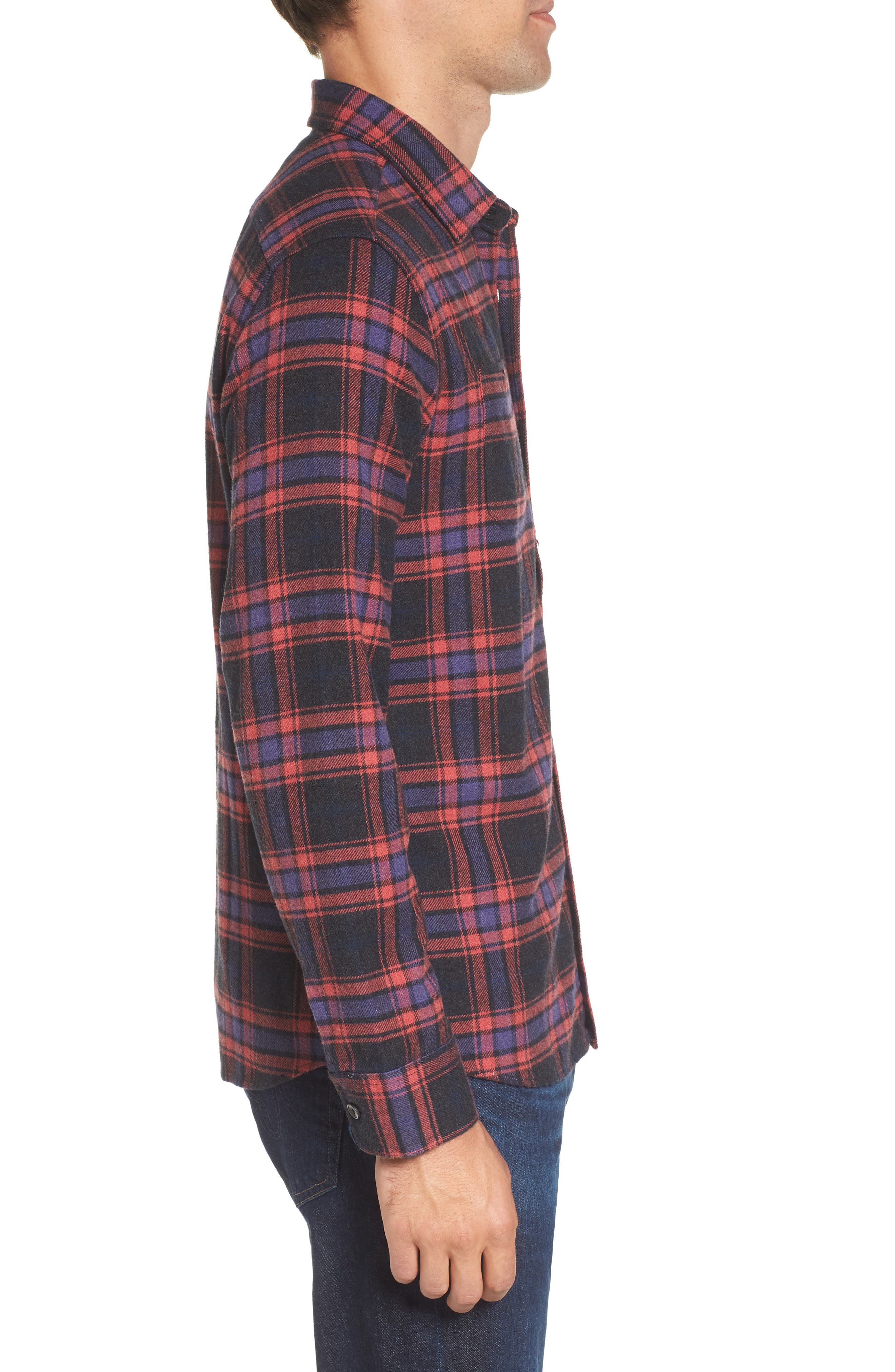 Chaucer Heritage Flannel Shirt,                             Alternate thumbnail 3, color,                             Charcoal Red