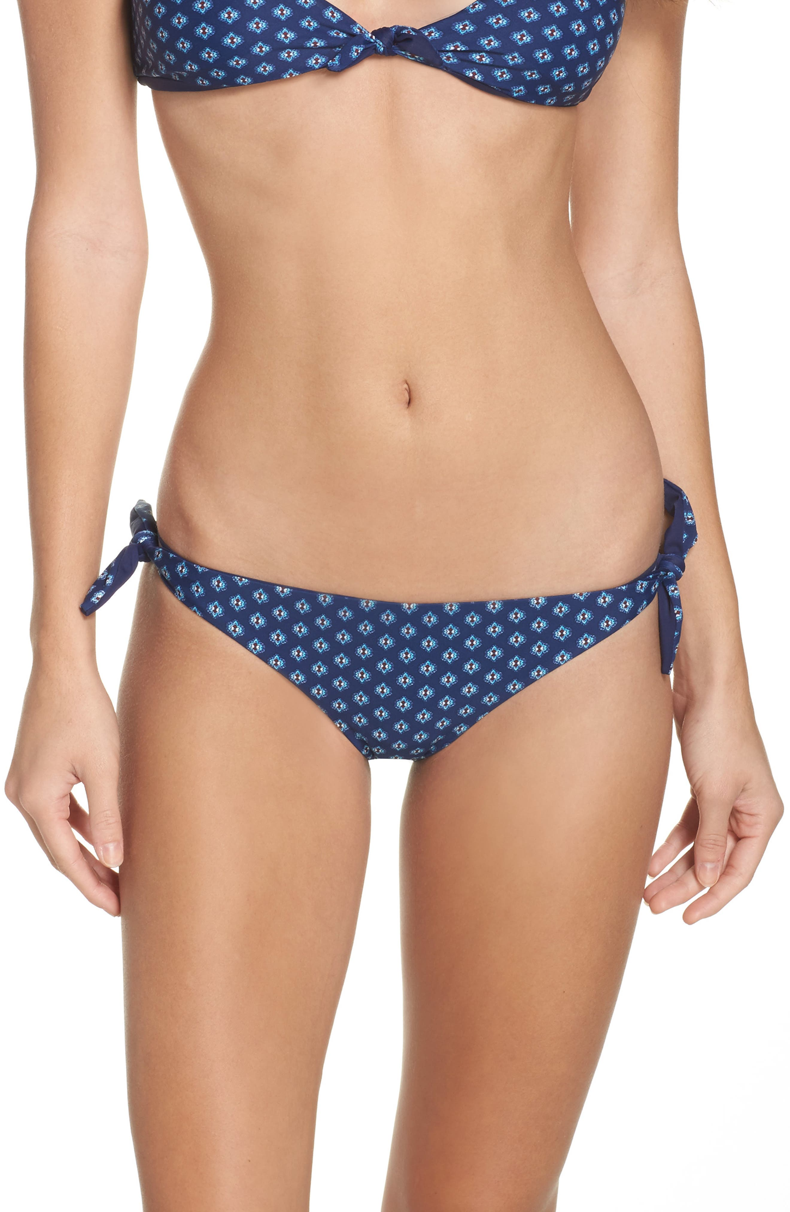 Reversible Side Tie Bikini Bottoms,                             Main thumbnail 1, color,                             Blue Multi