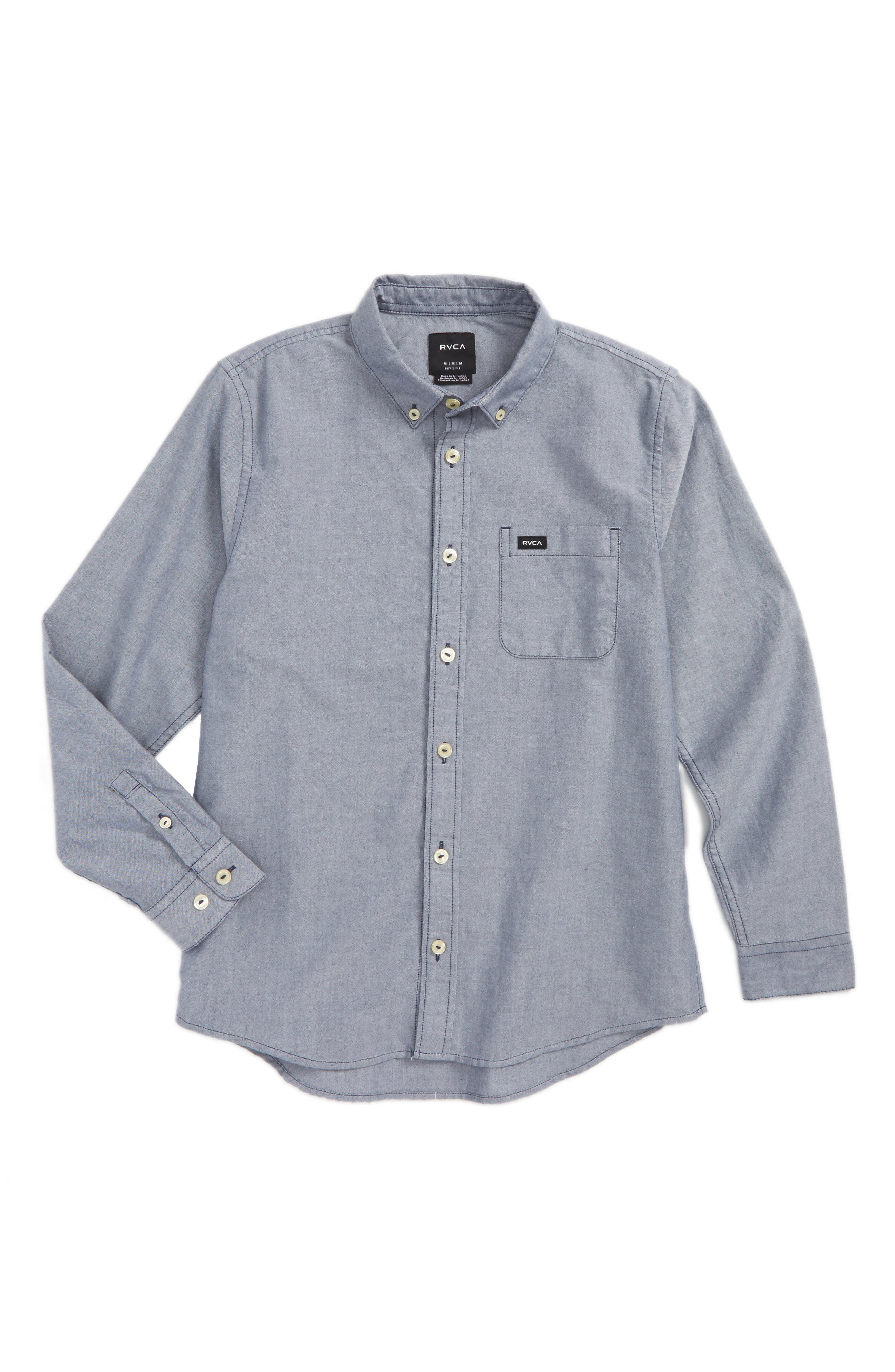 RVCA 'That'll Do' Long Sleeve Oxford Woven Shirt (Big Boys)