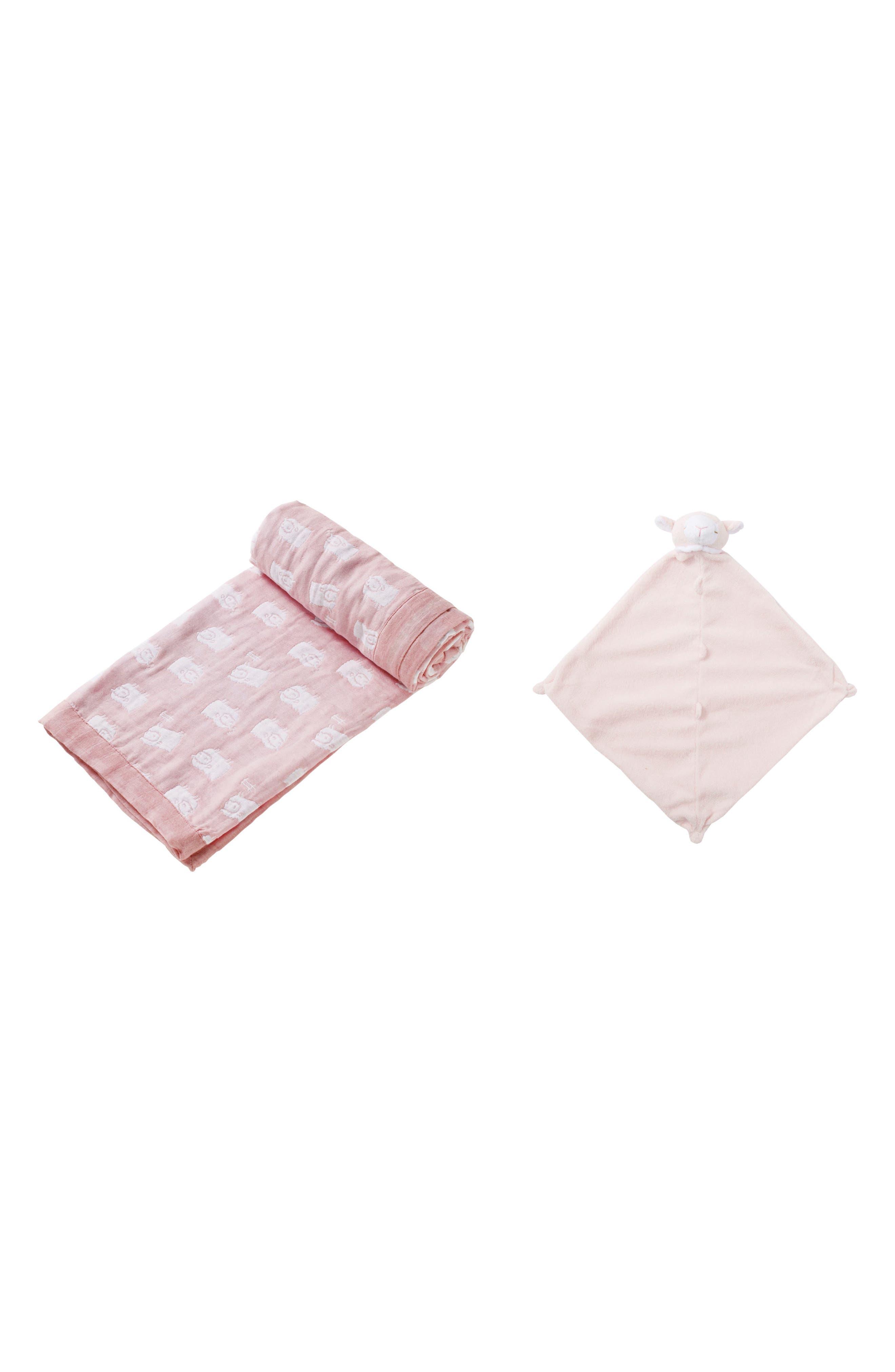 Angel Dear Lamb Jacquard Blanket & Blankie Set (Baby Girls)