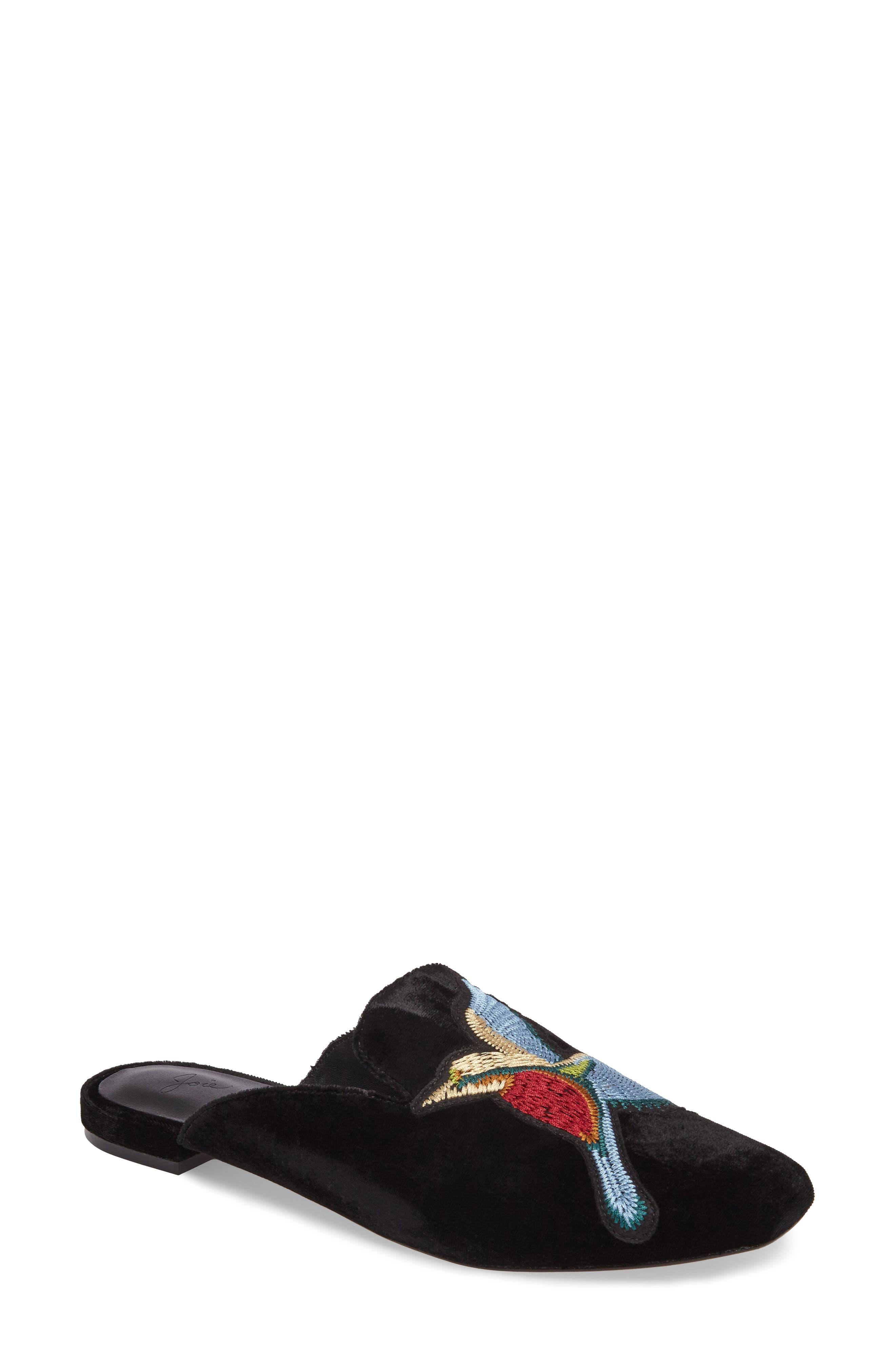 Jean Embellished Mule,                         Main,                         color, Black Embroidered