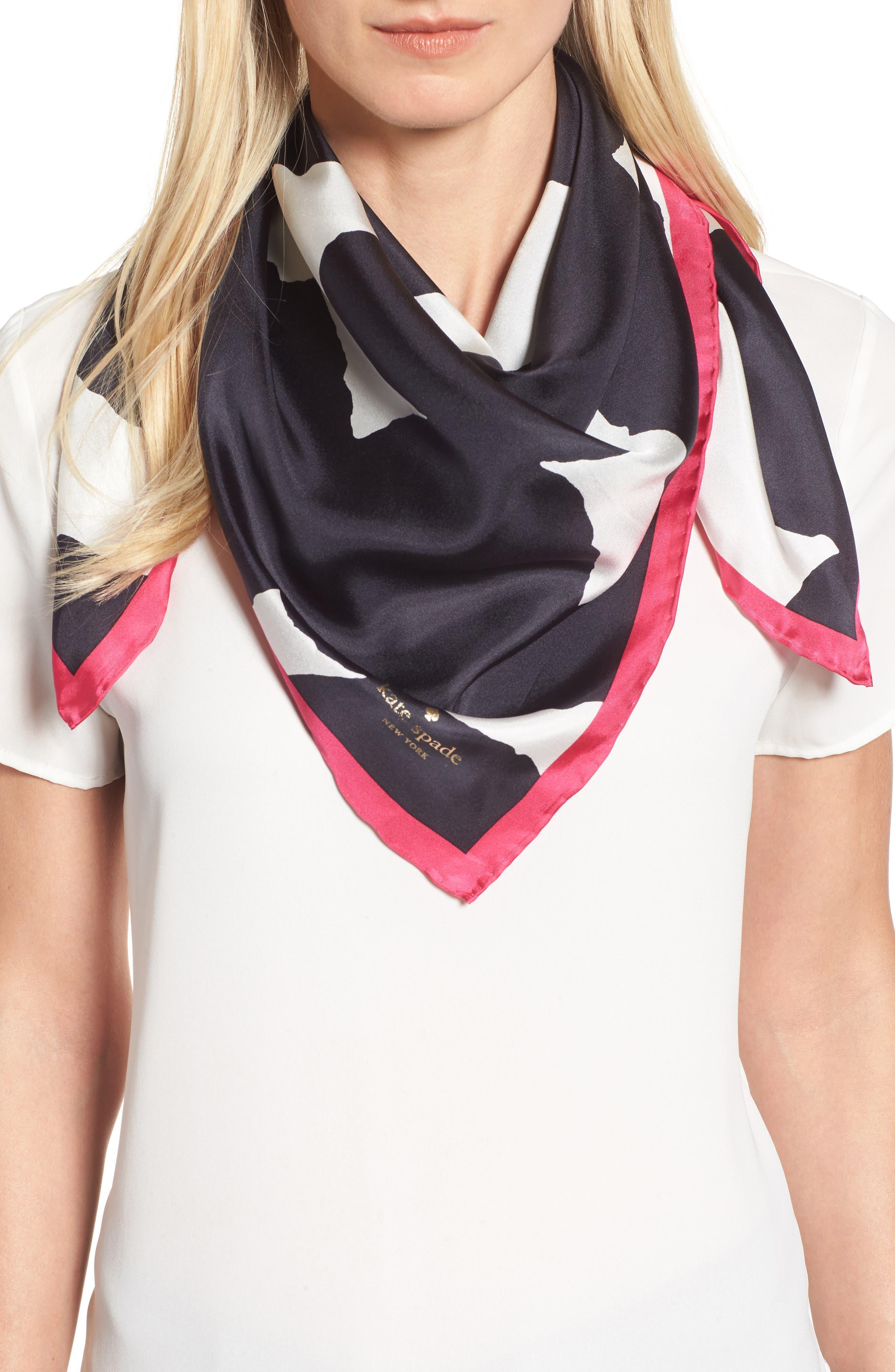 large dot square silk scarf,                         Main,                         color, Black