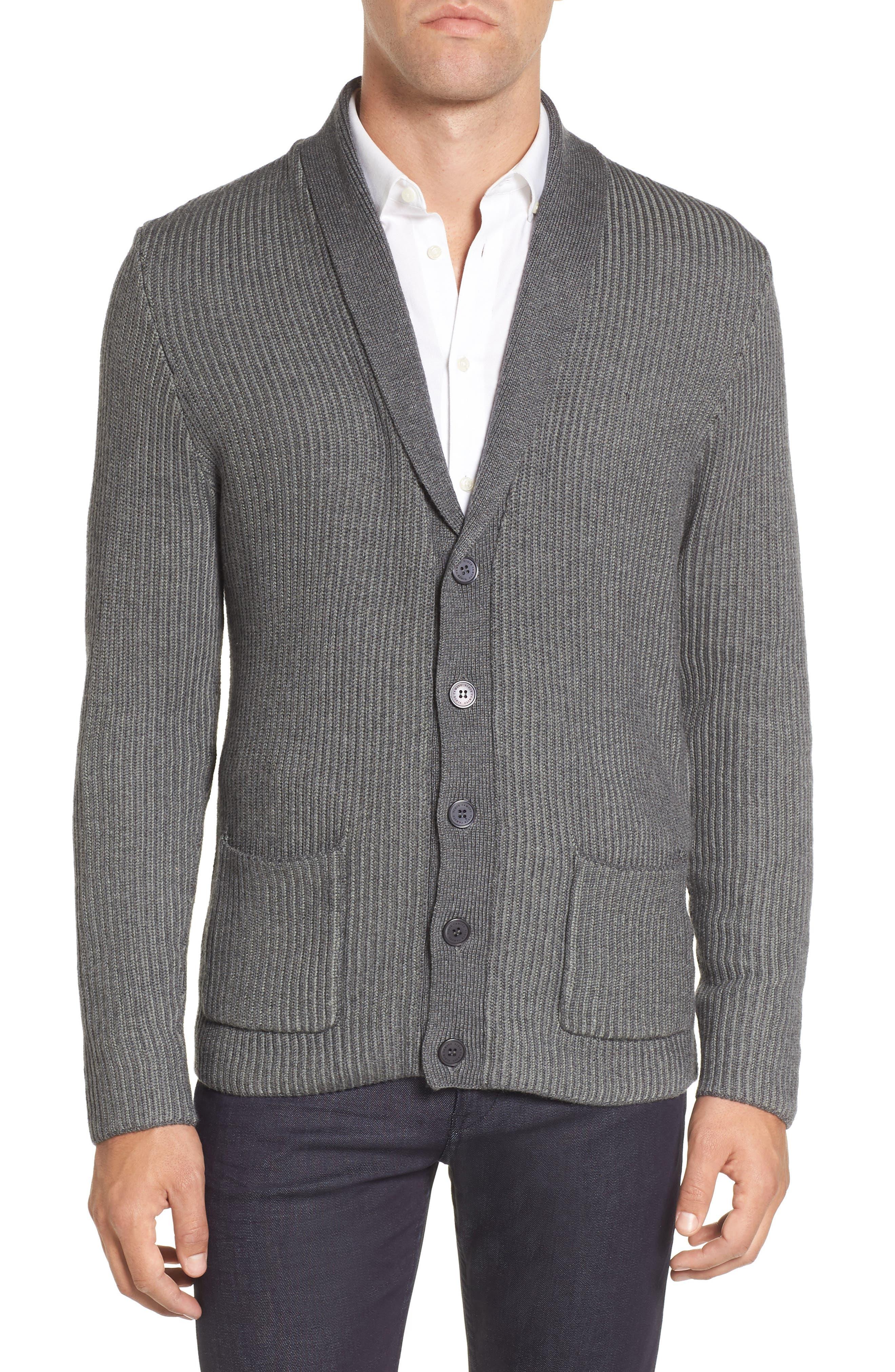 Slim Shawl Collar Cardigan,                         Main,                         color, Charcoal/ Light Grey