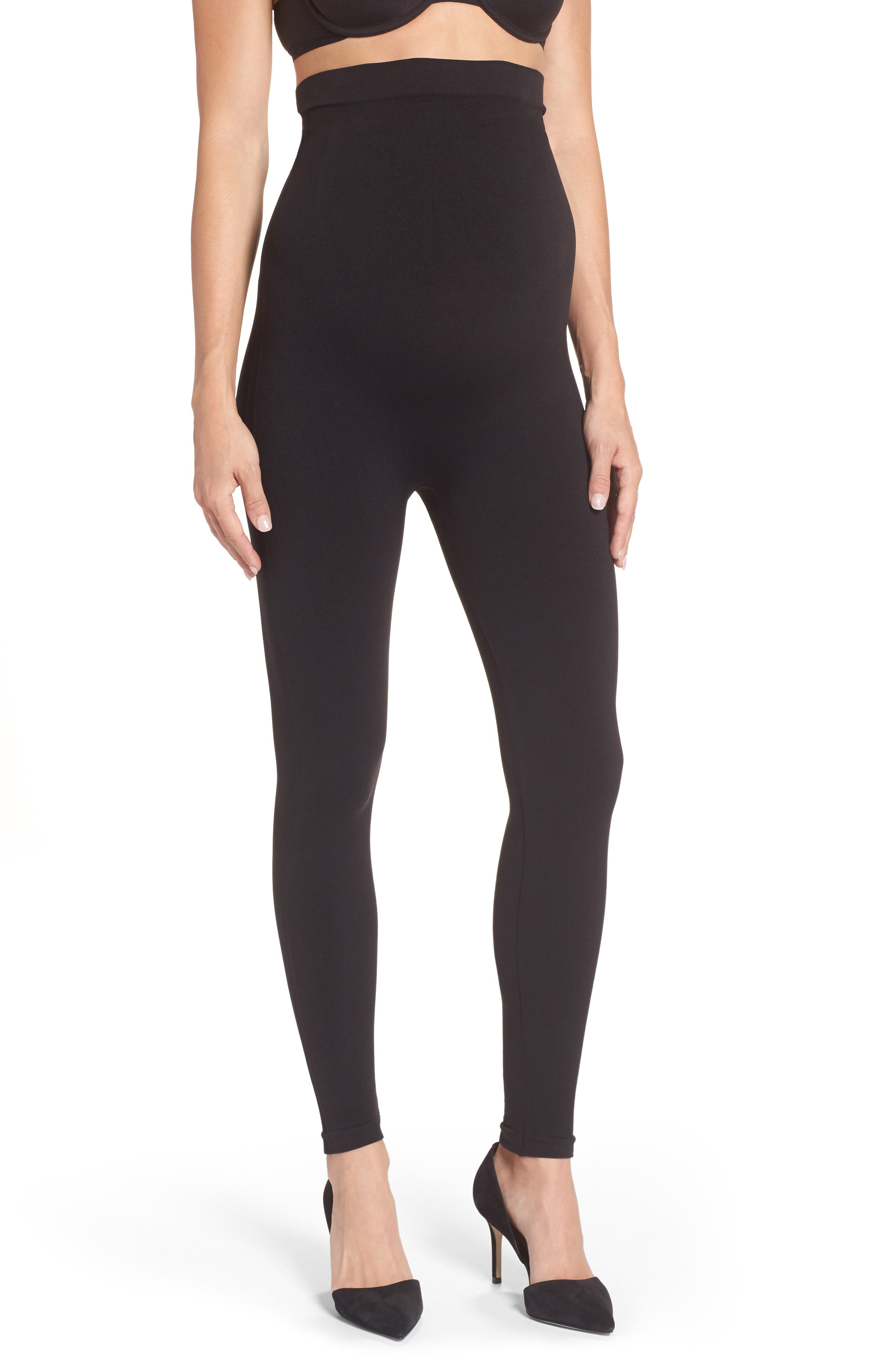 Mama Look at Me Now Seamless Maternity Leggings,                             Main thumbnail 1, color,                             Very Black