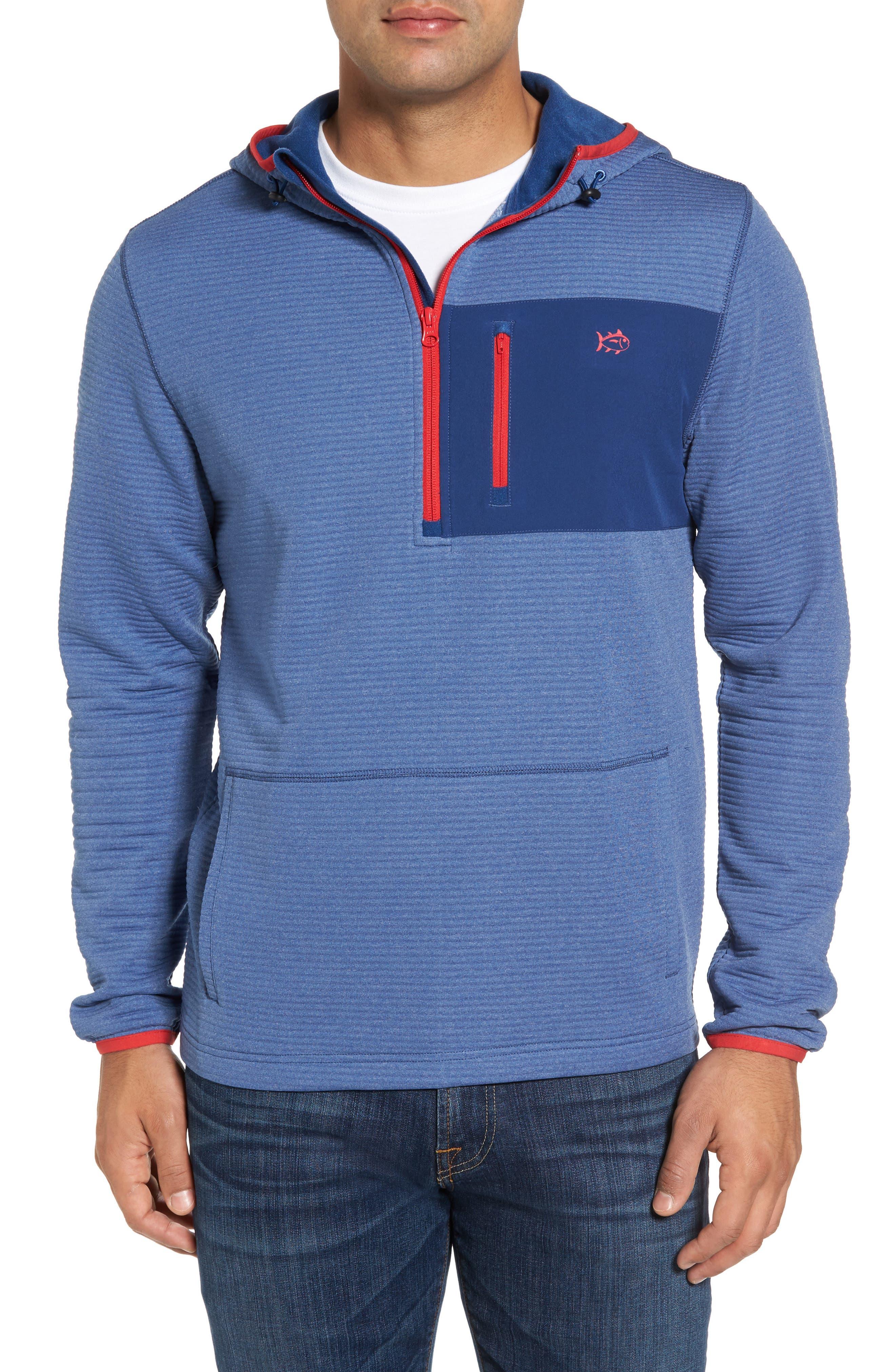 Furrow Quarter Zip Hoodie,                         Main,                         color, Seven Seas Blue